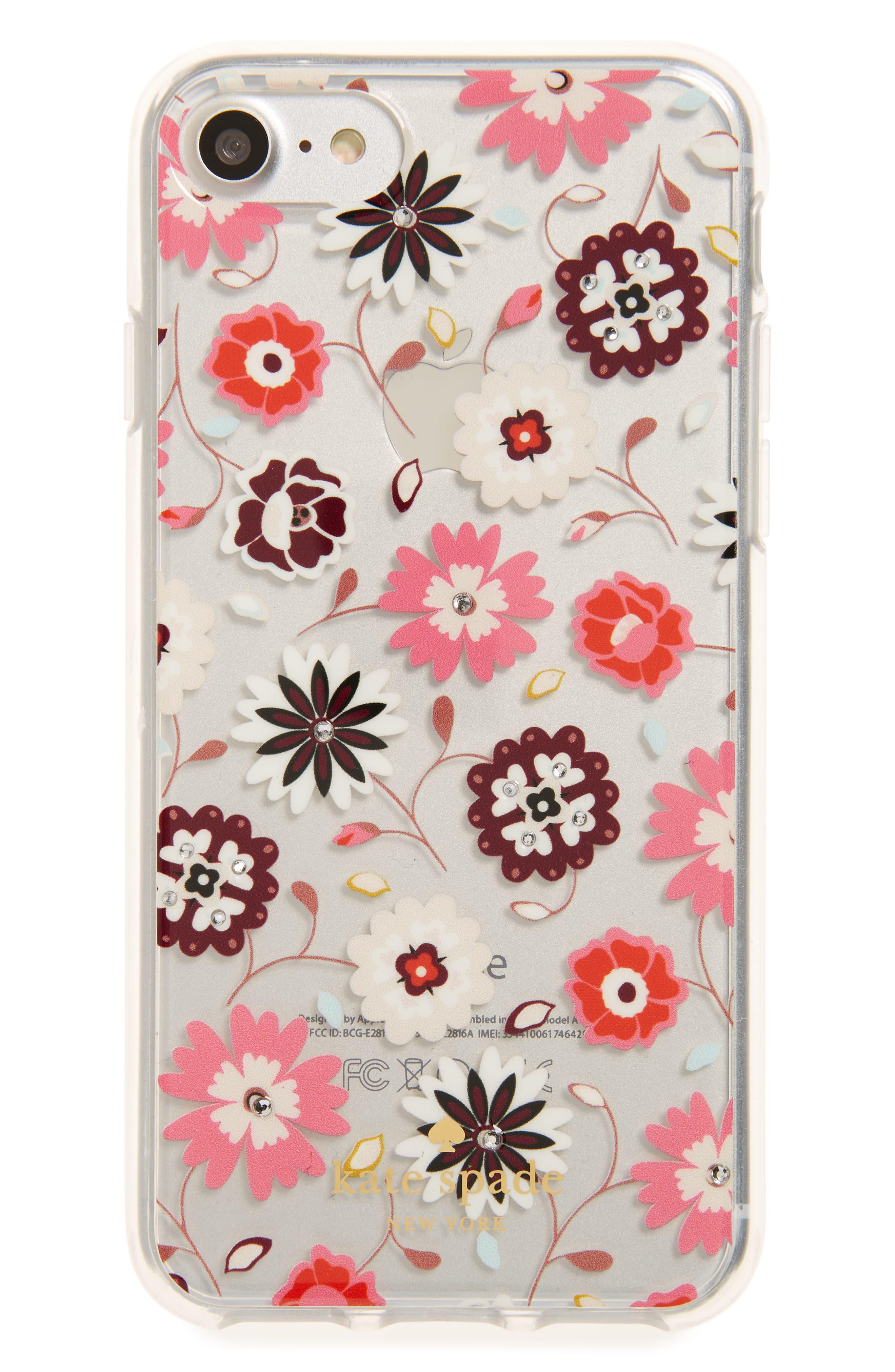 jeweled casa flora iPhone 7/8 & 7/8 Plus case,                         Main,                         color, Clear Multi