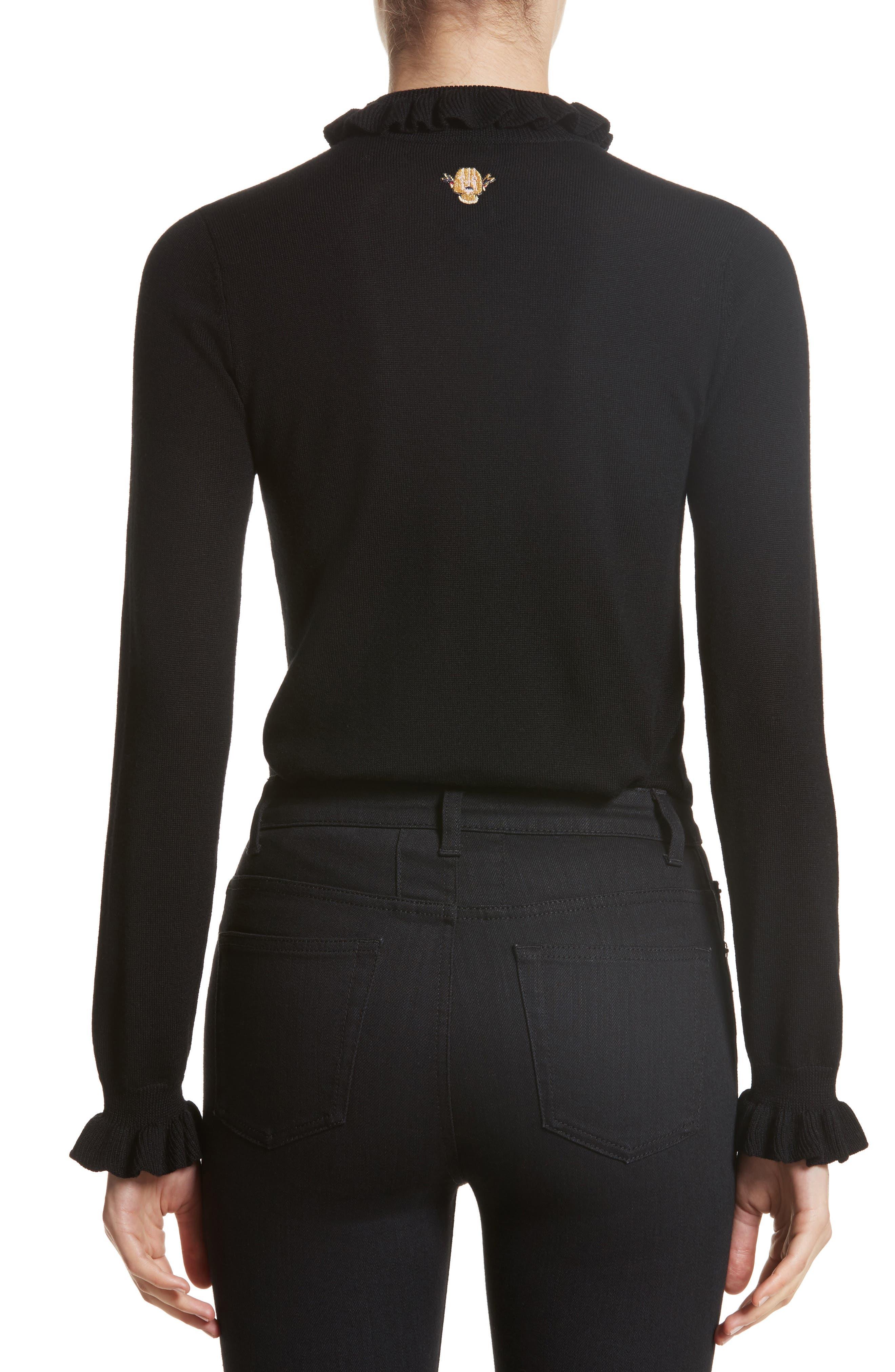 Robin Frill Wool Sweater,                             Alternate thumbnail 2, color,                             Black
