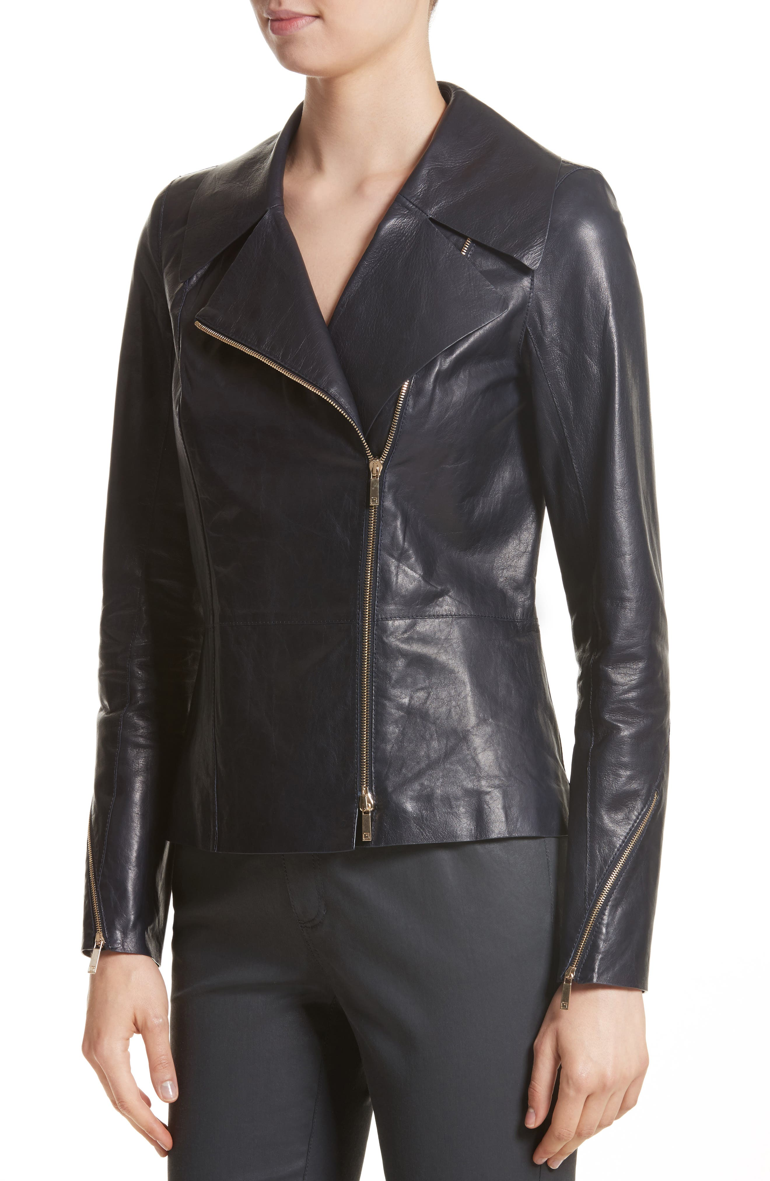 Kimbry Leather Jacket with Removable Genuine Rex Rabbit Fur Collar,                             Alternate thumbnail 4, color,                             Ink