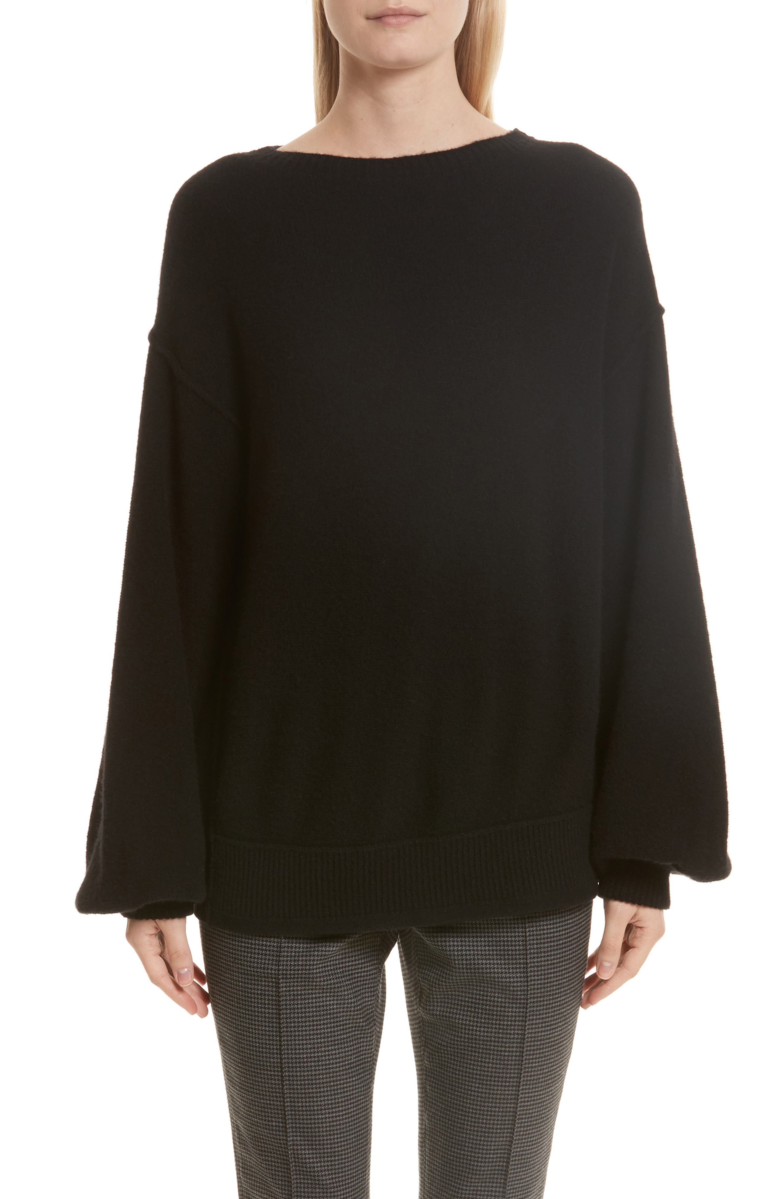 Balloon Sleeve Wool & Cashmere Sweater,                             Main thumbnail 1, color,                             Black