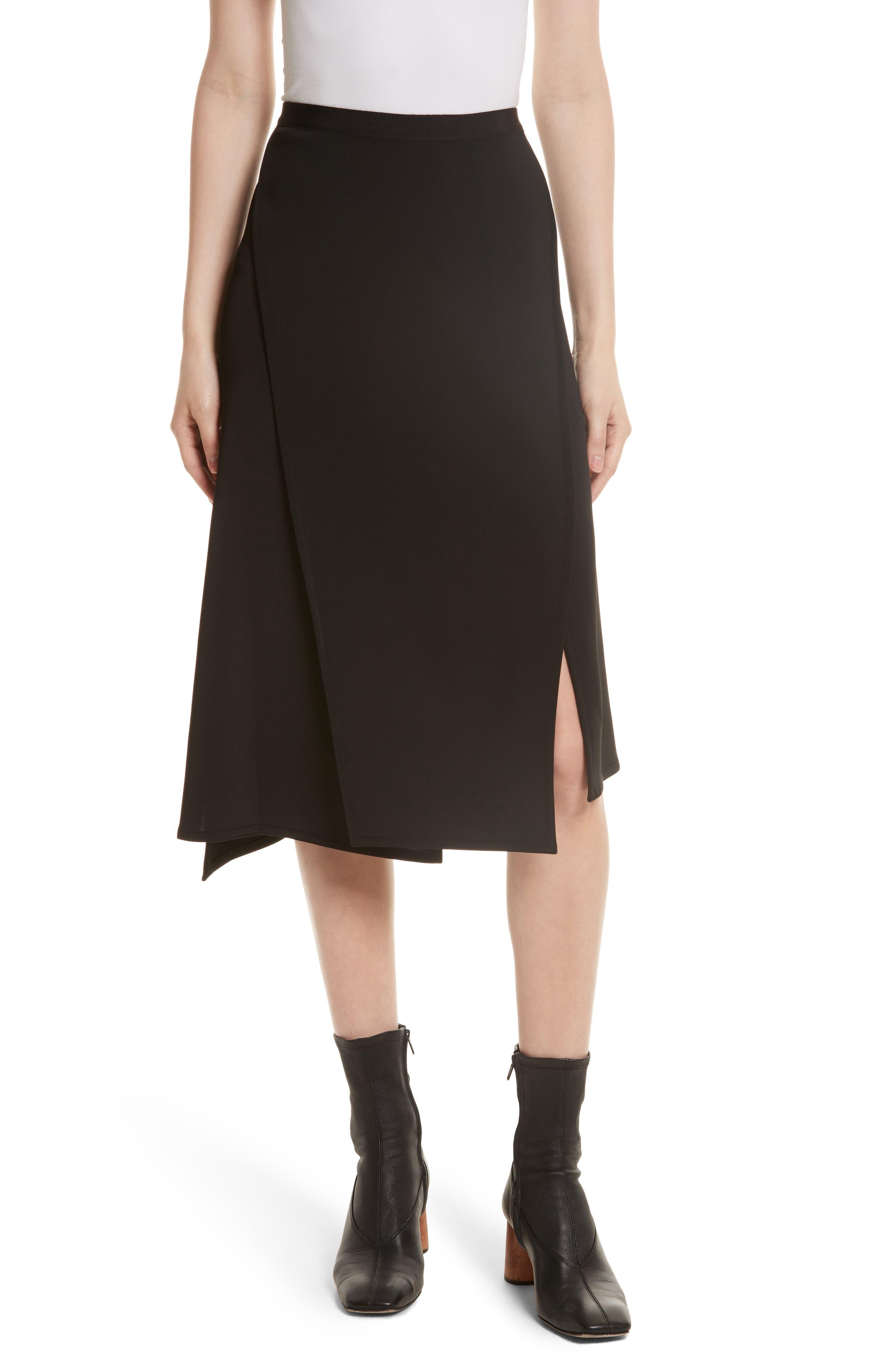 Bondage Jersey Asymmetrical Skirt,                             Main thumbnail 1, color,                             Black