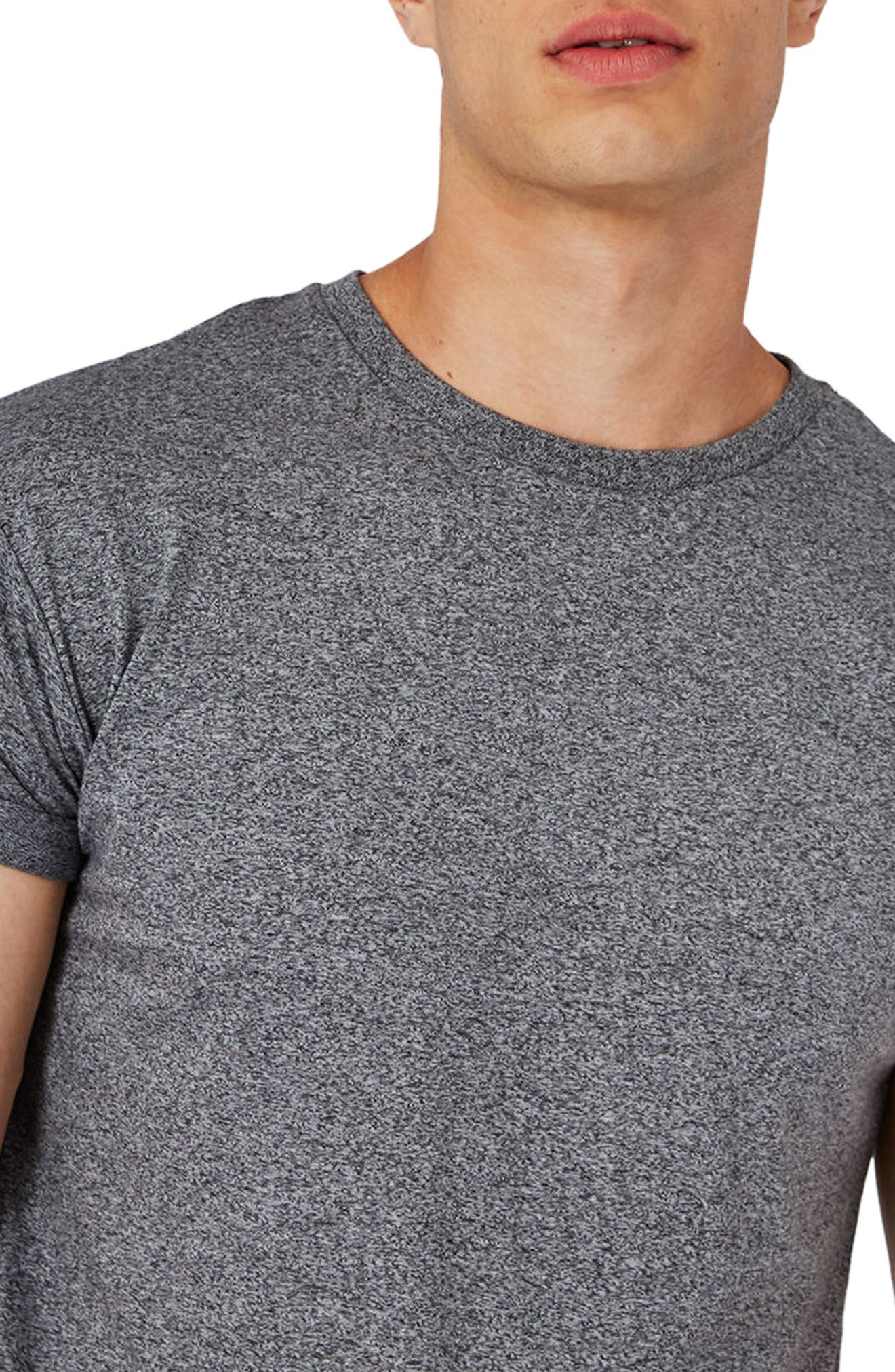 Muscle Fit Roll Sleeve T-Shirt,                             Alternate thumbnail 3, color,                             Grey