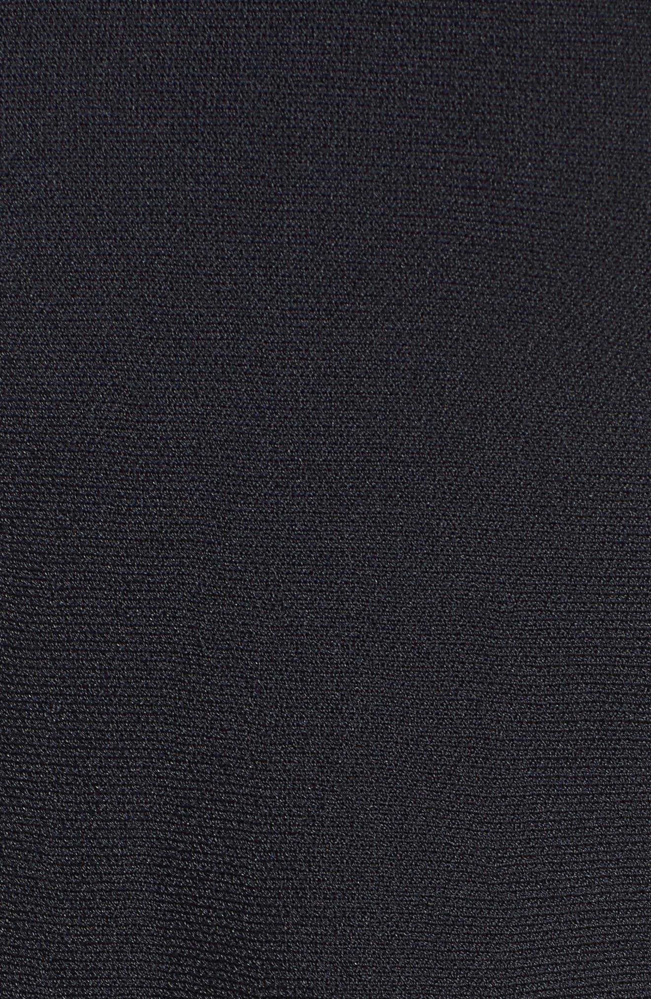Illusion Yoke Fit & Flare Dress,                             Alternate thumbnail 5, color,                             Black