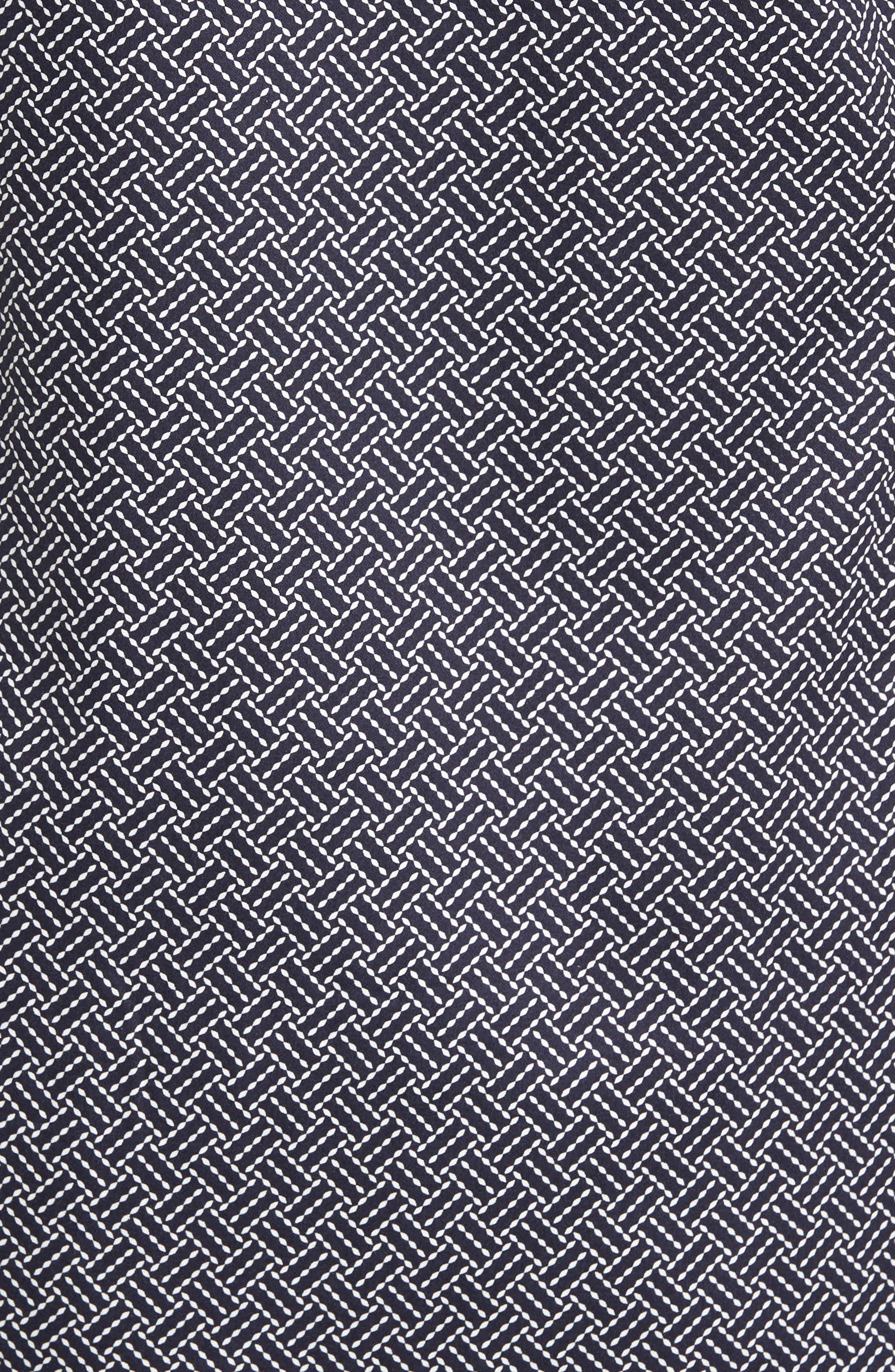 Larosh Slim Fit Basket Weave Print Sport Shirt,                             Alternate thumbnail 5, color,                             Navy