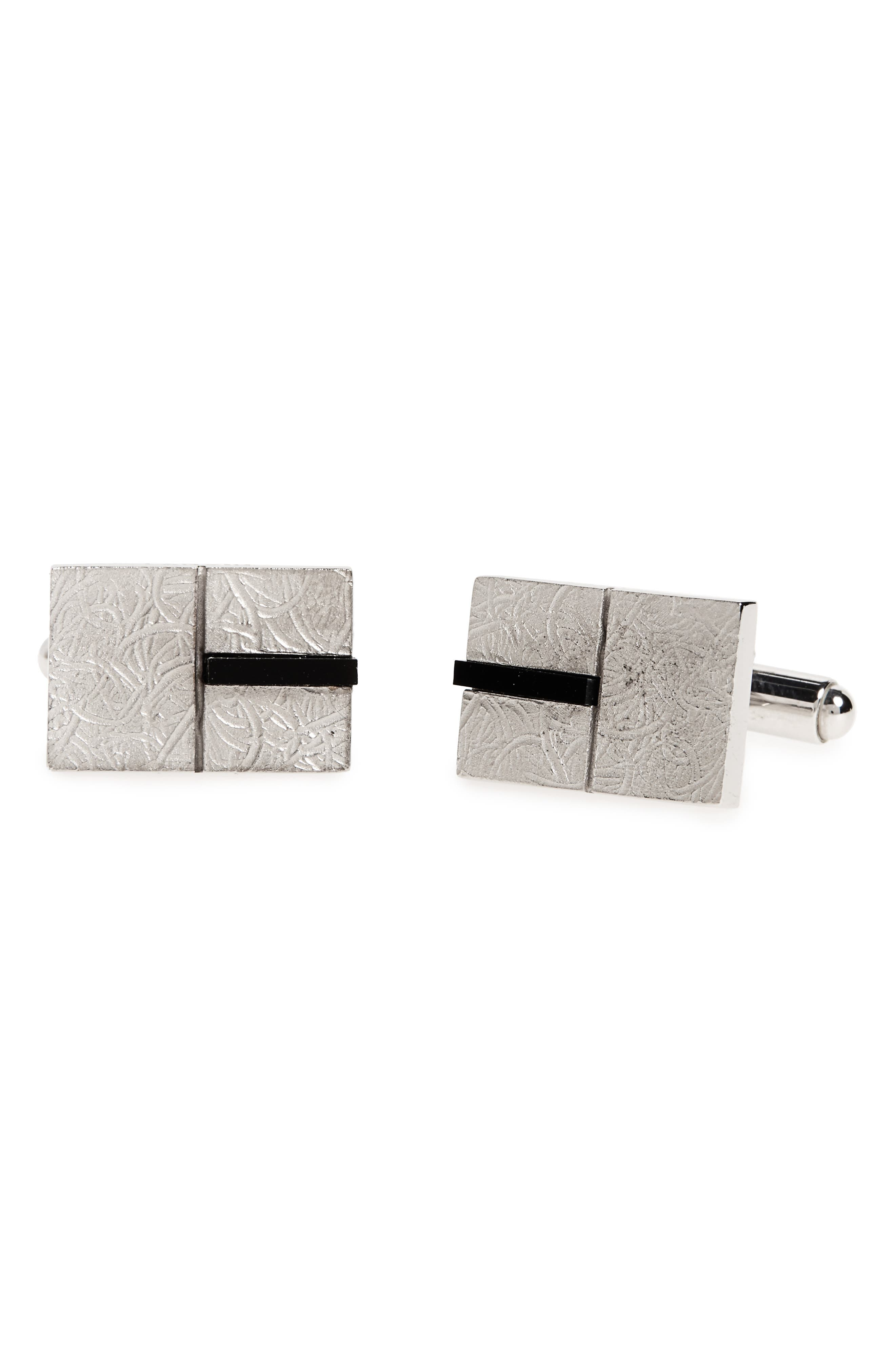 Squares Cuff Links,                         Main,                         color, Rhodium Plated