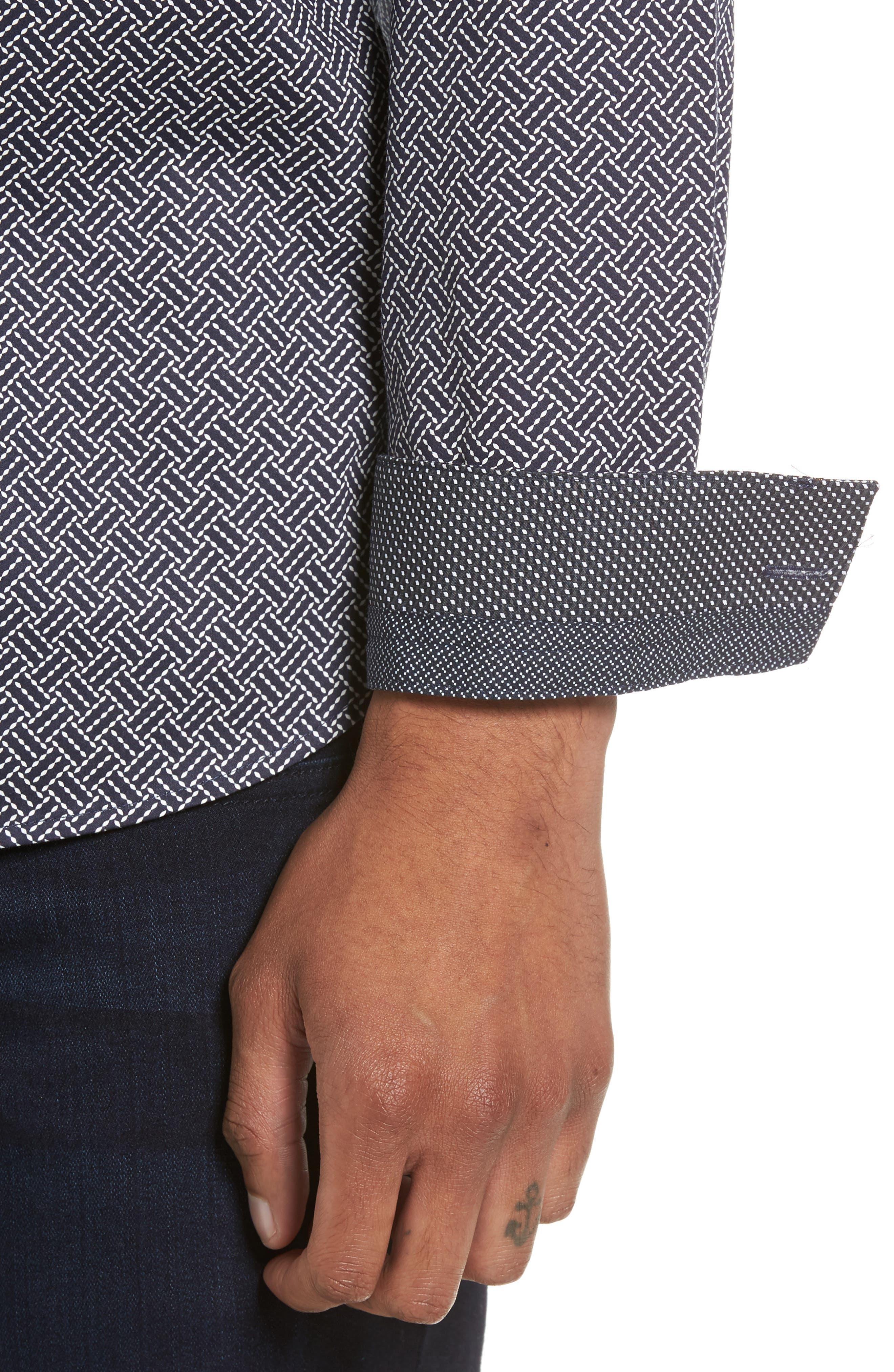 Larosh Slim Fit Basket Weave Print Sport Shirt,                             Alternate thumbnail 4, color,                             Navy