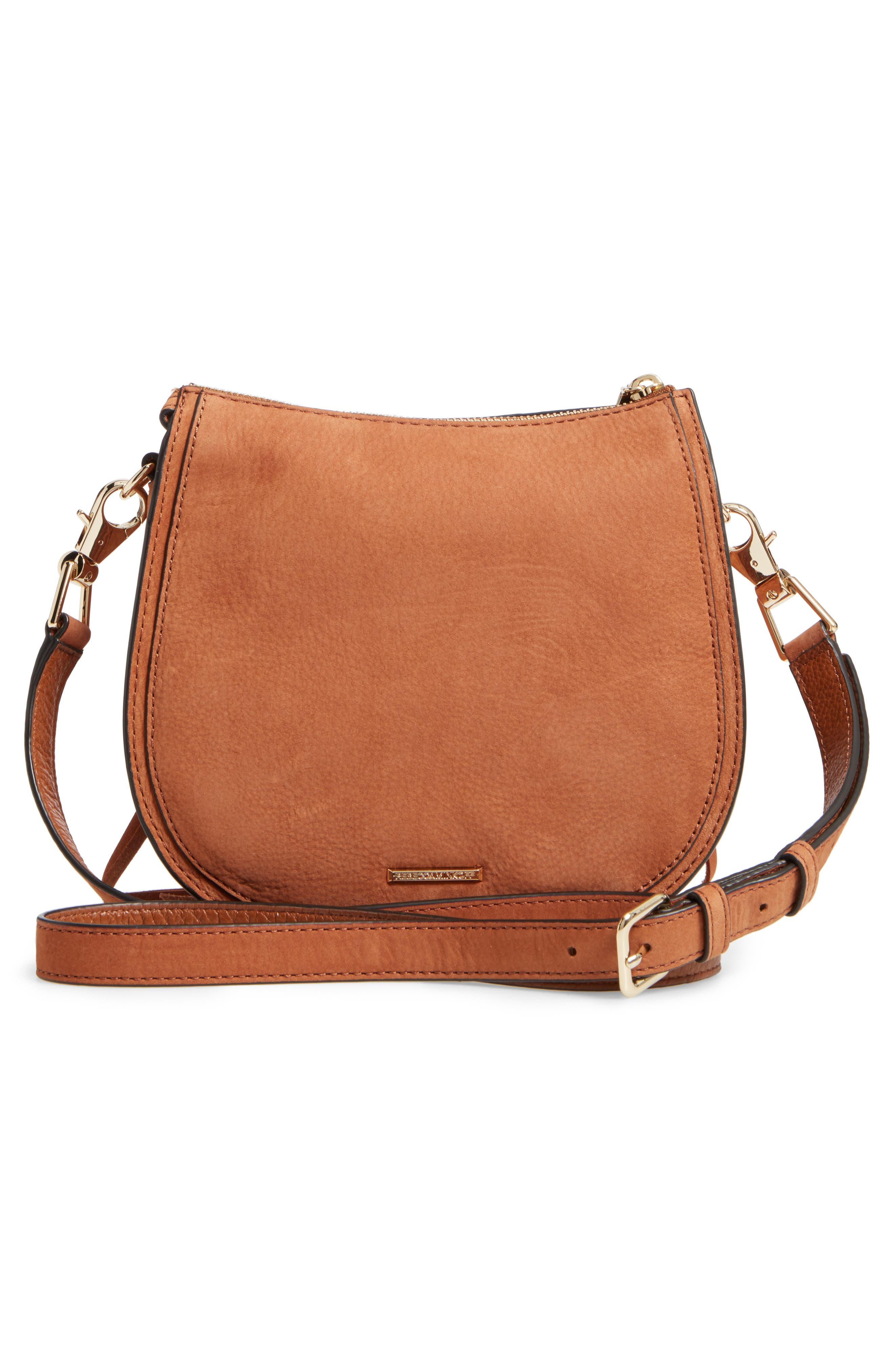 Mini Vanity Saddle Bag,                             Alternate thumbnail 3, color,                             Almond Nubuck