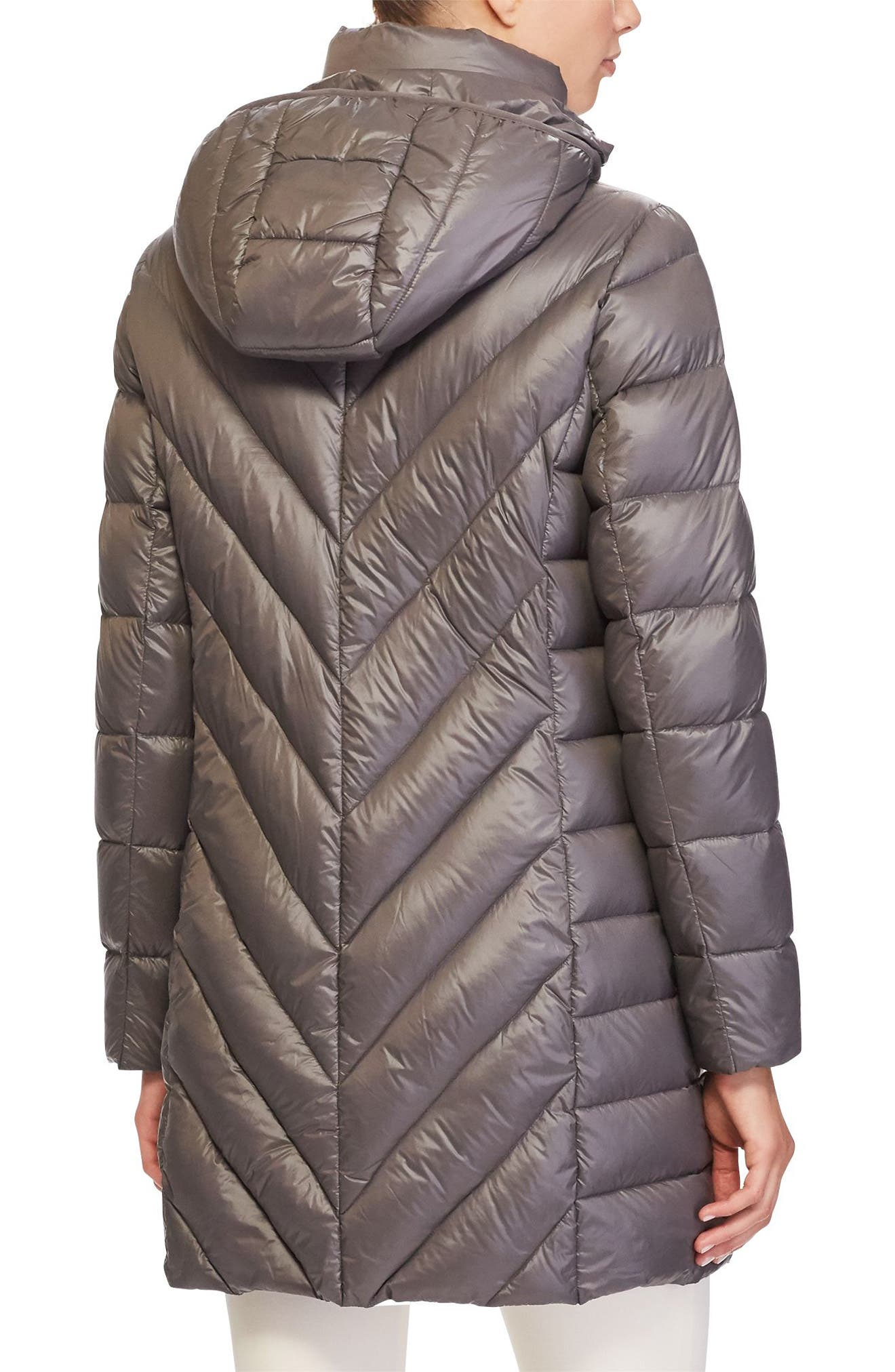 Chevron Quilted Down Jacket,                             Alternate thumbnail 3, color,                             Concrete