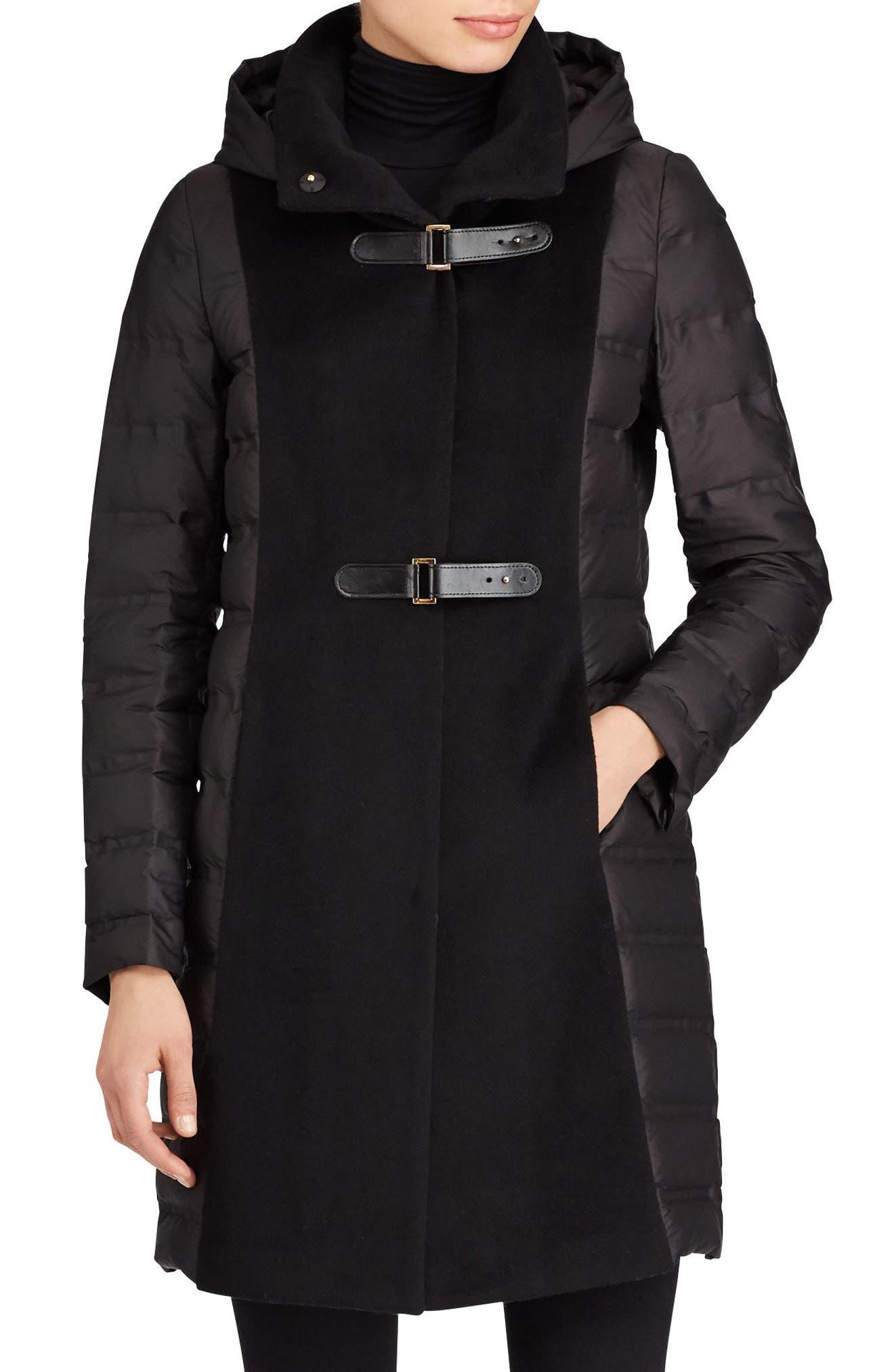 Hooded Mixed Media Coat,                         Main,                         color, Black