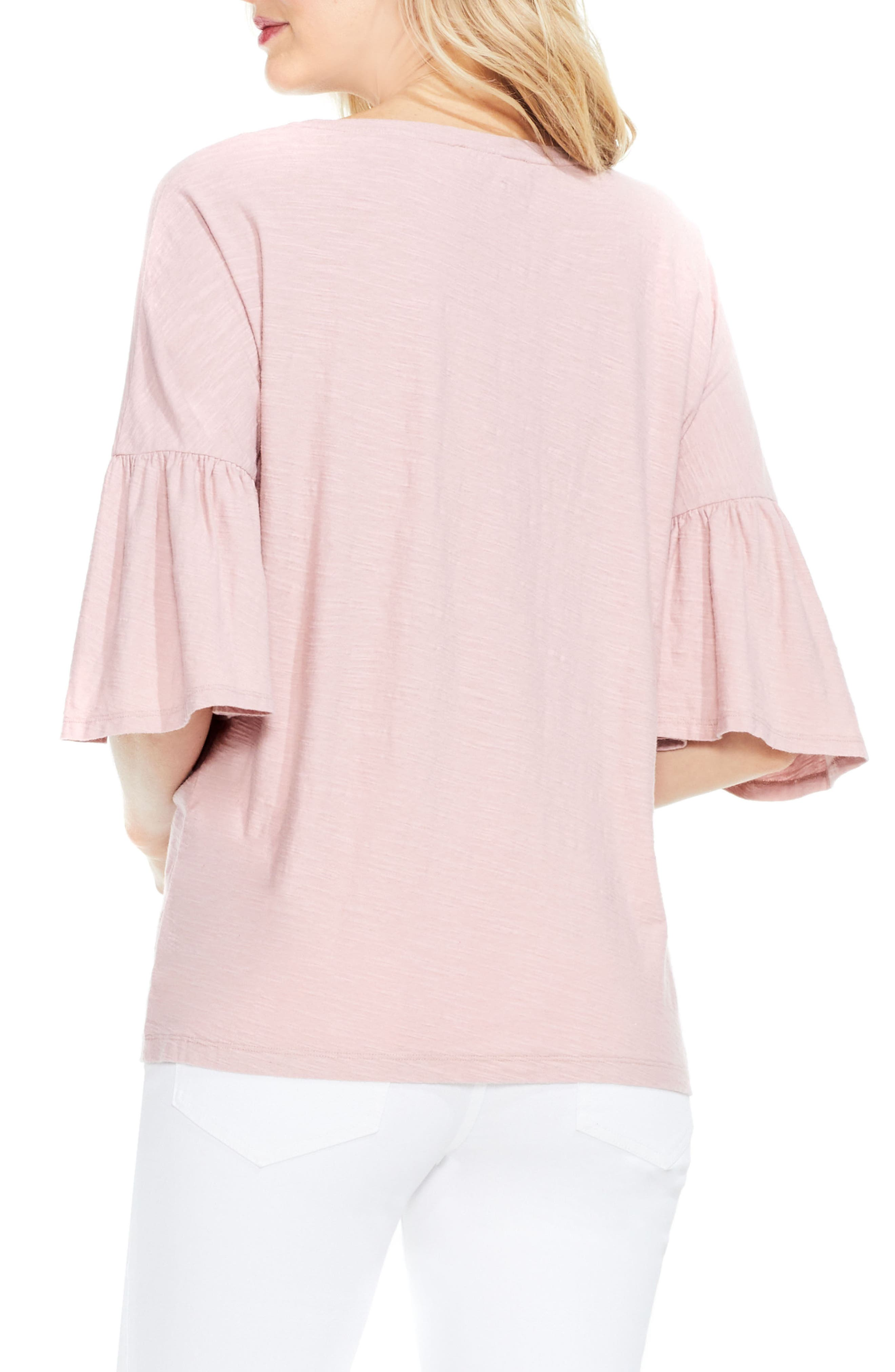 Relaxed Bell Sleeve Cotton Tee,                             Alternate thumbnail 2, color,                             Rose Buff