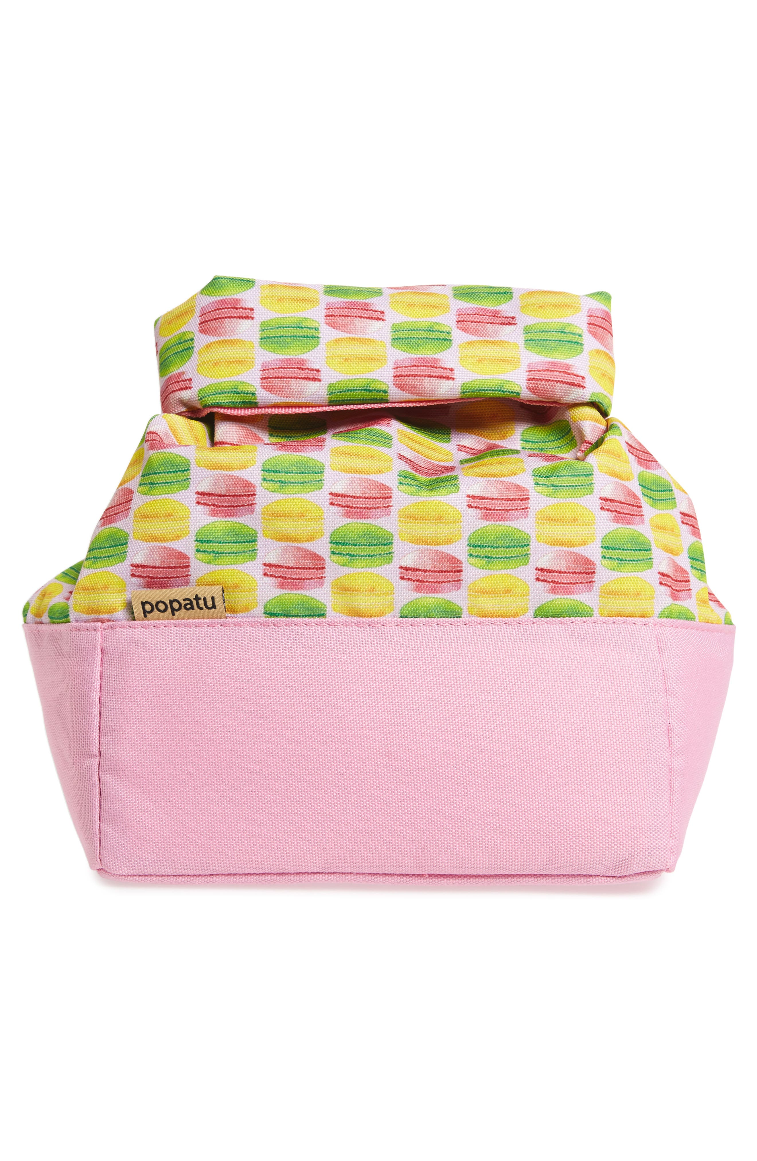Macaron Print Roll Top Lunch Bag,                             Alternate thumbnail 2, color,                             Pink