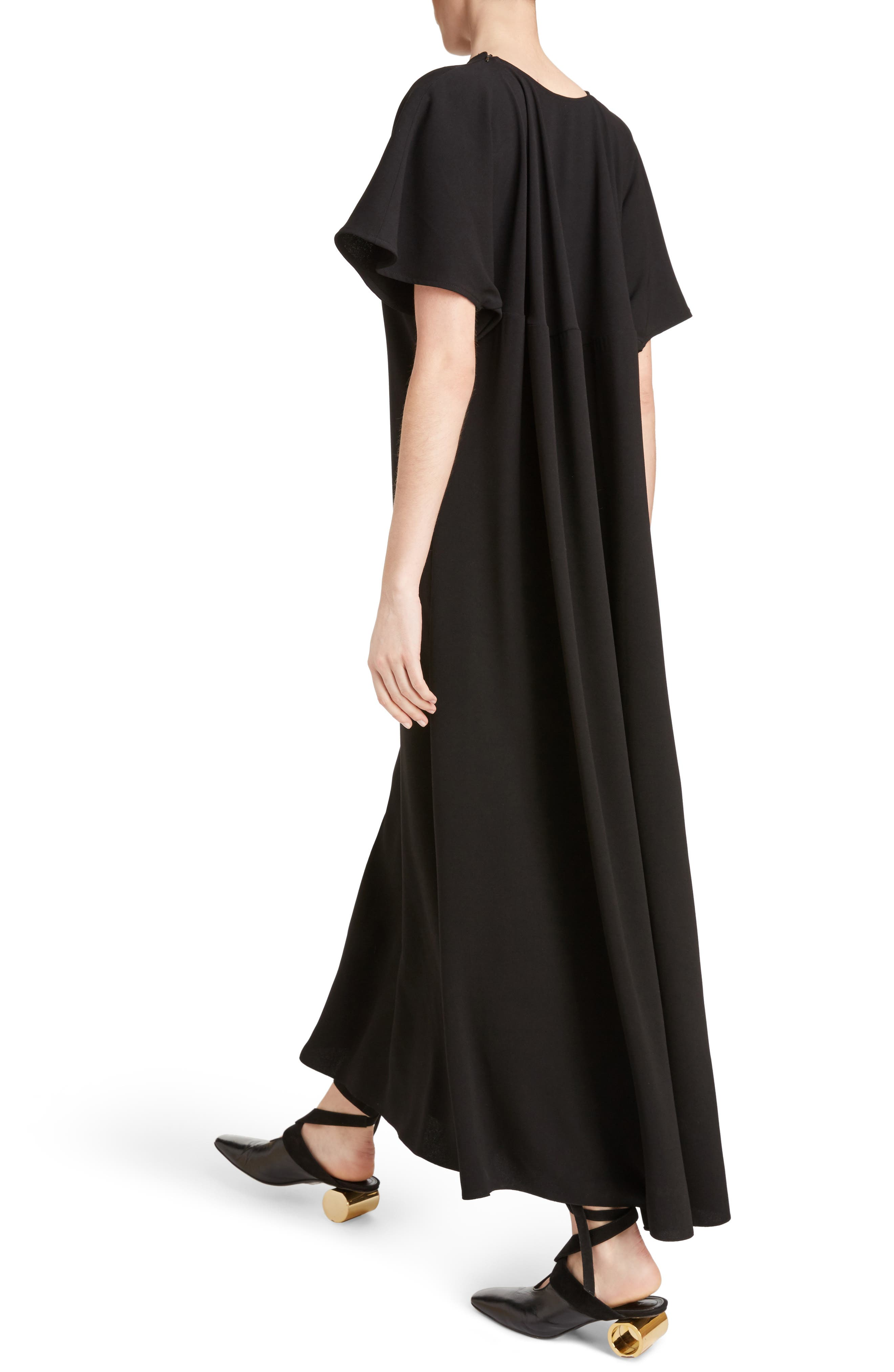 J.W.ANDERSON Cap Sleeve Maxi Dress,                             Alternate thumbnail 4, color,                             Black