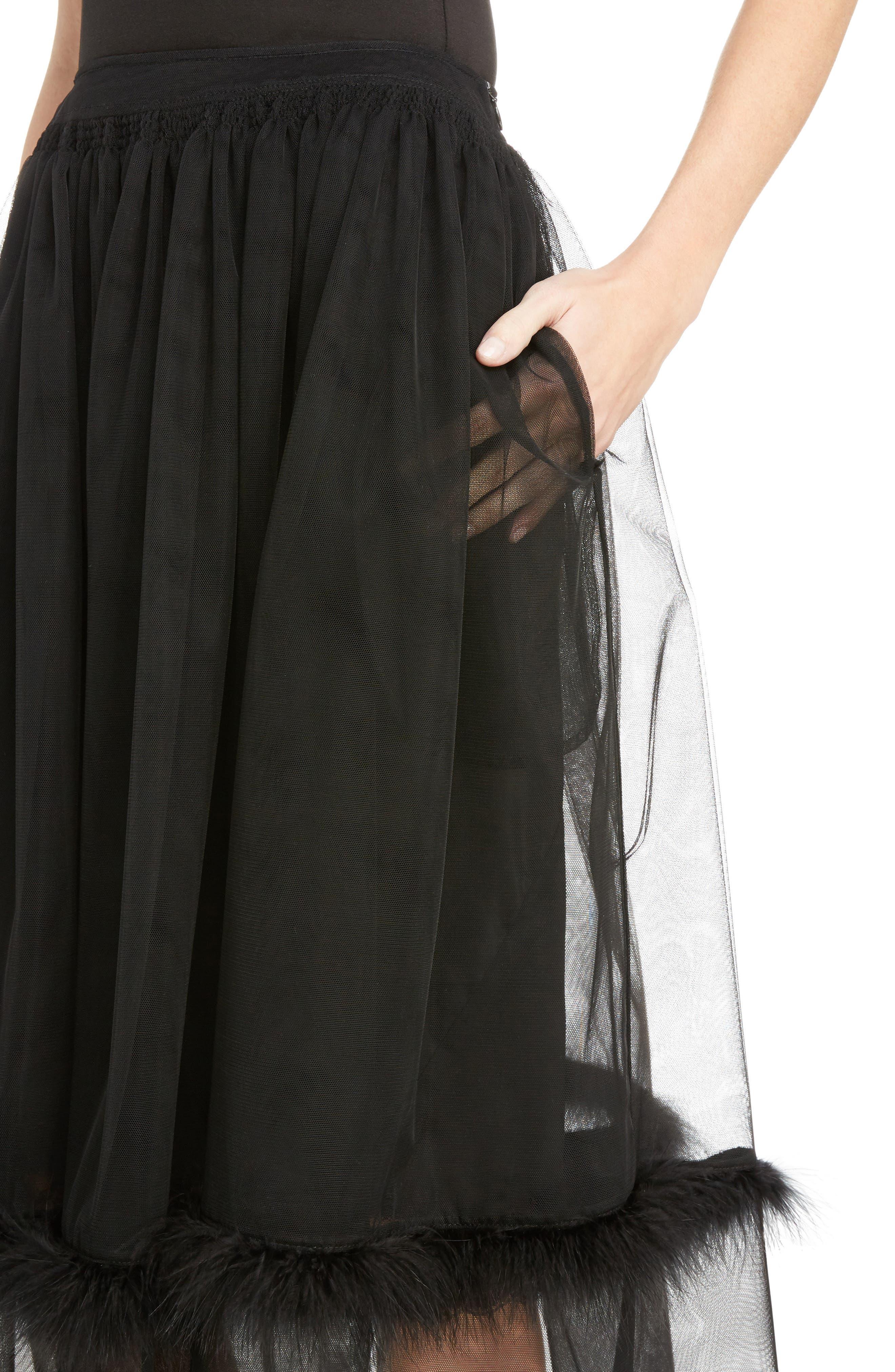 Marabou Trim Smock Waist Tulle Skirt,                             Alternate thumbnail 5, color,                             Black
