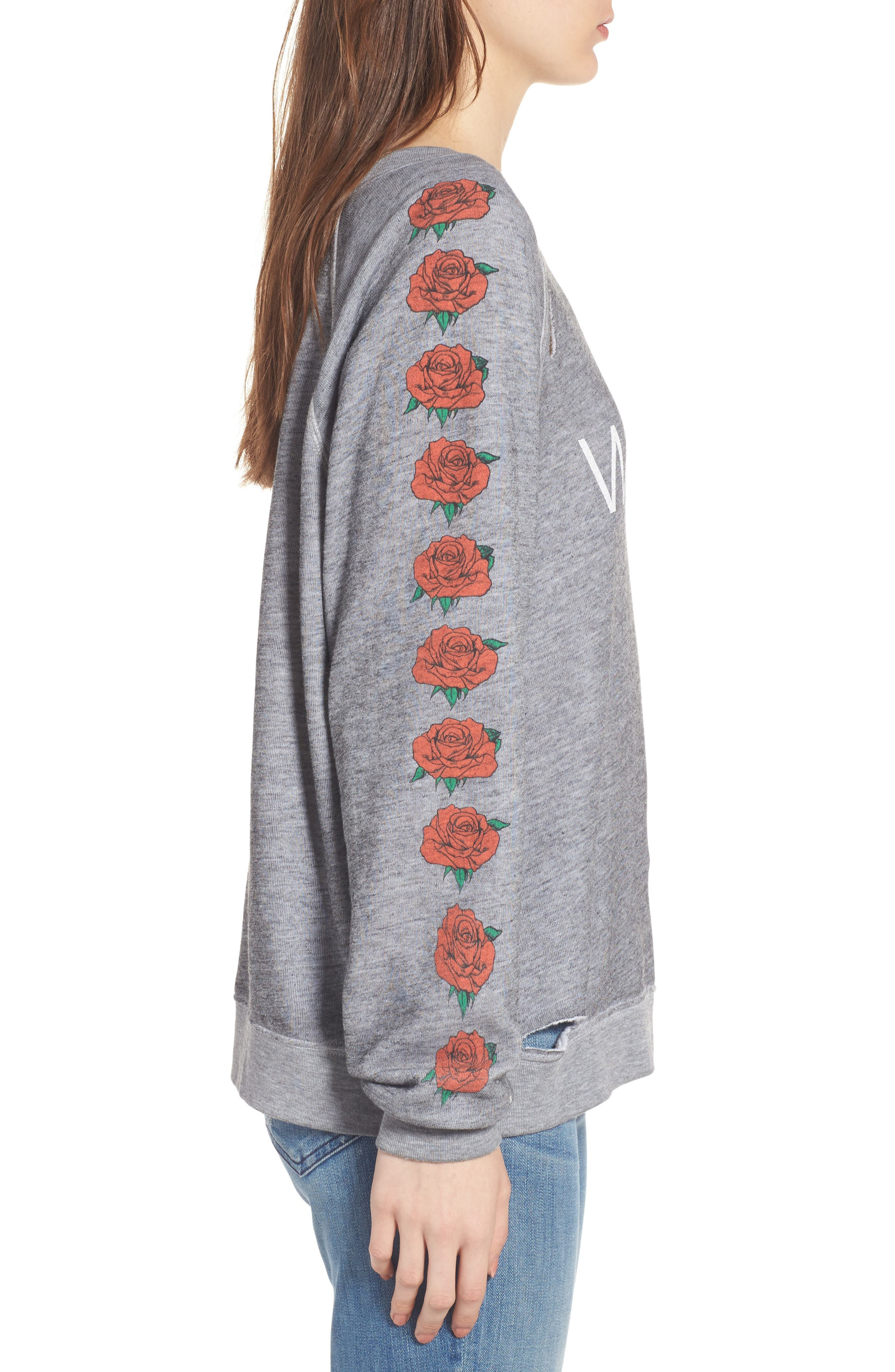 Alternate Image 3  - Wildfox Bouquet Thrashed Sweatshirt