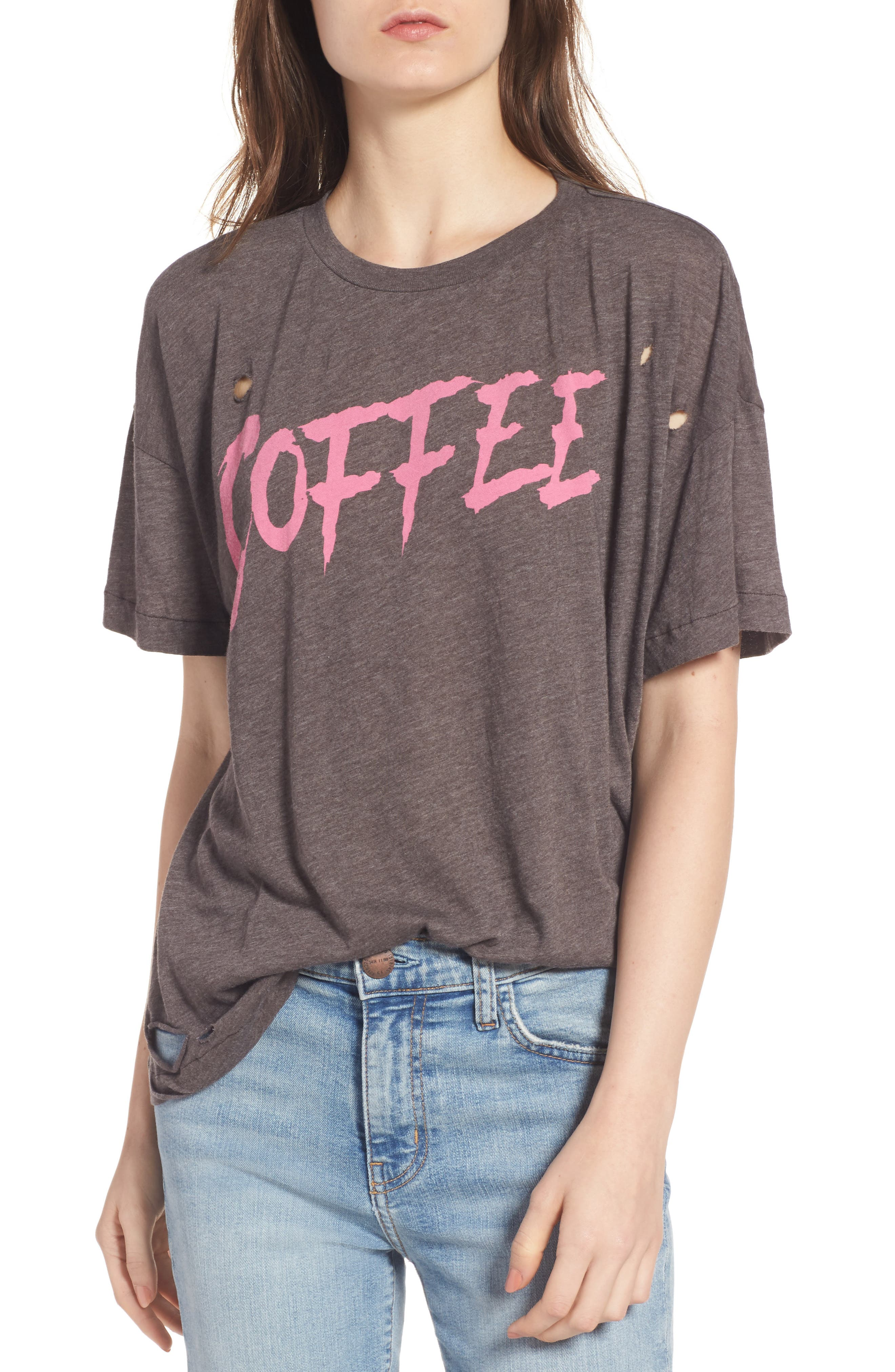 Coffee Destroyed Tee,                         Main,                         color, Carbon Brown