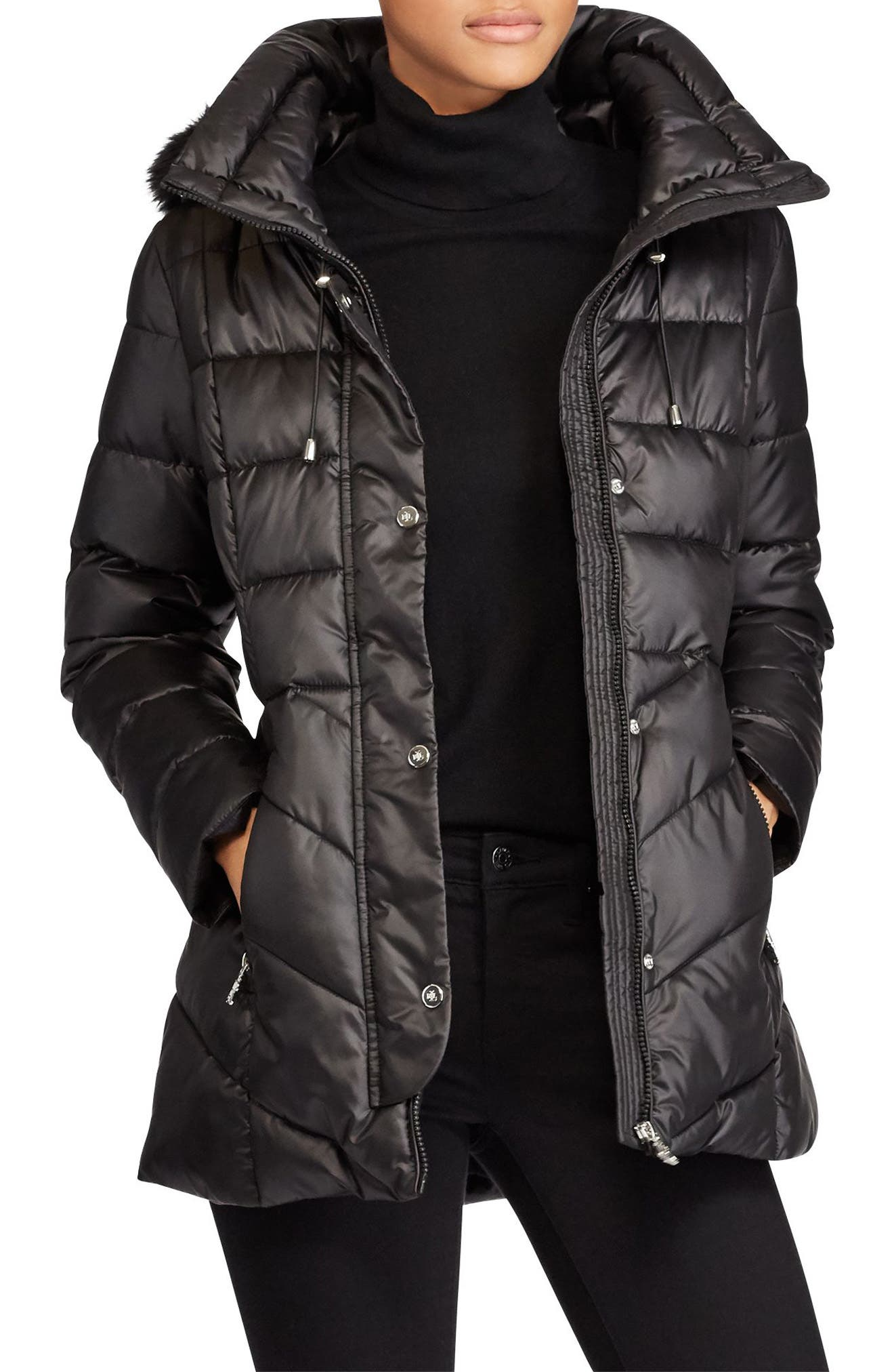 Lauren Ralph Lauren Puffer with Faux Fur