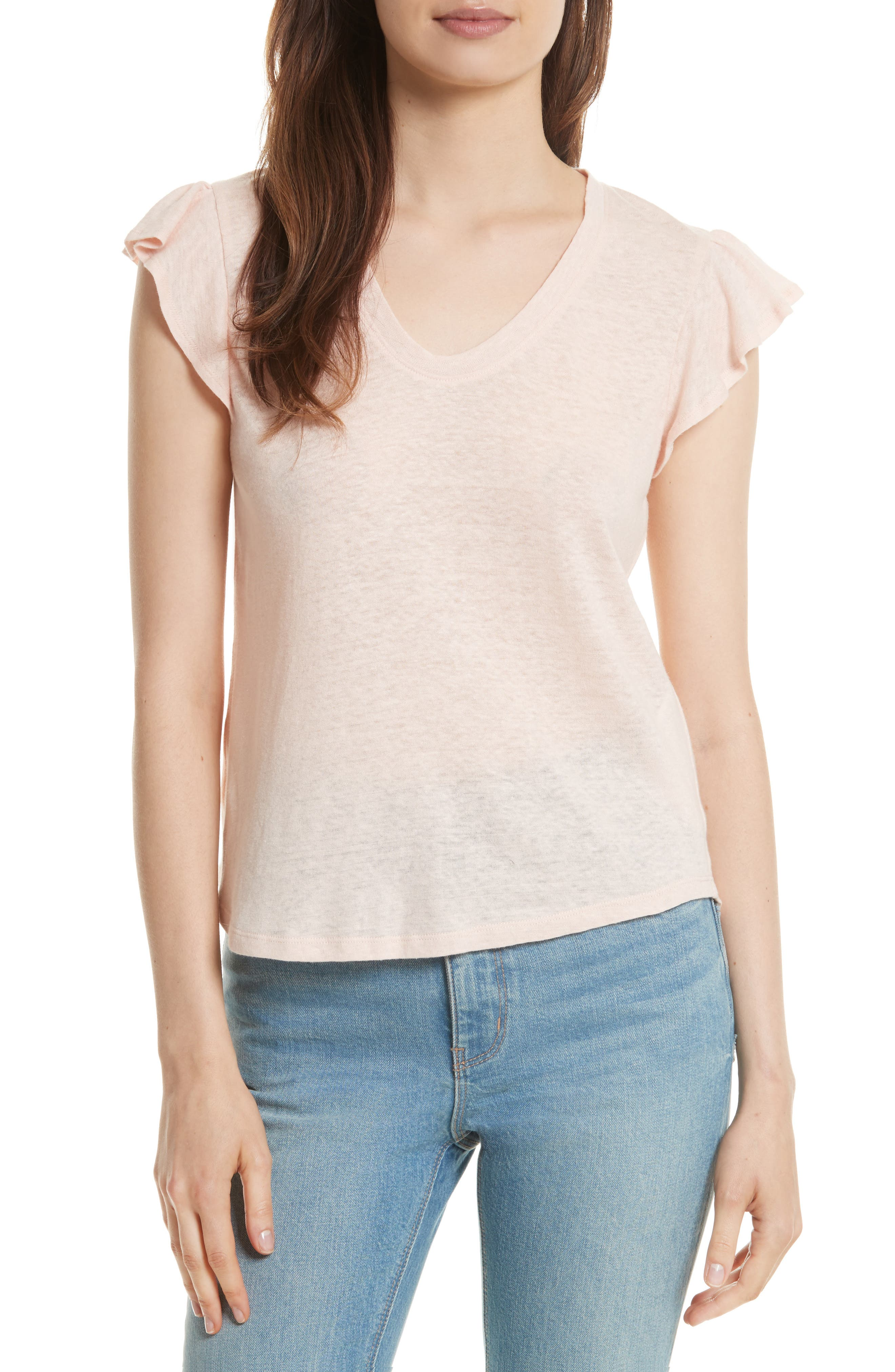 Ruffle Sleeve Washed Jersey Top,                         Main,                         color, Pale Blush