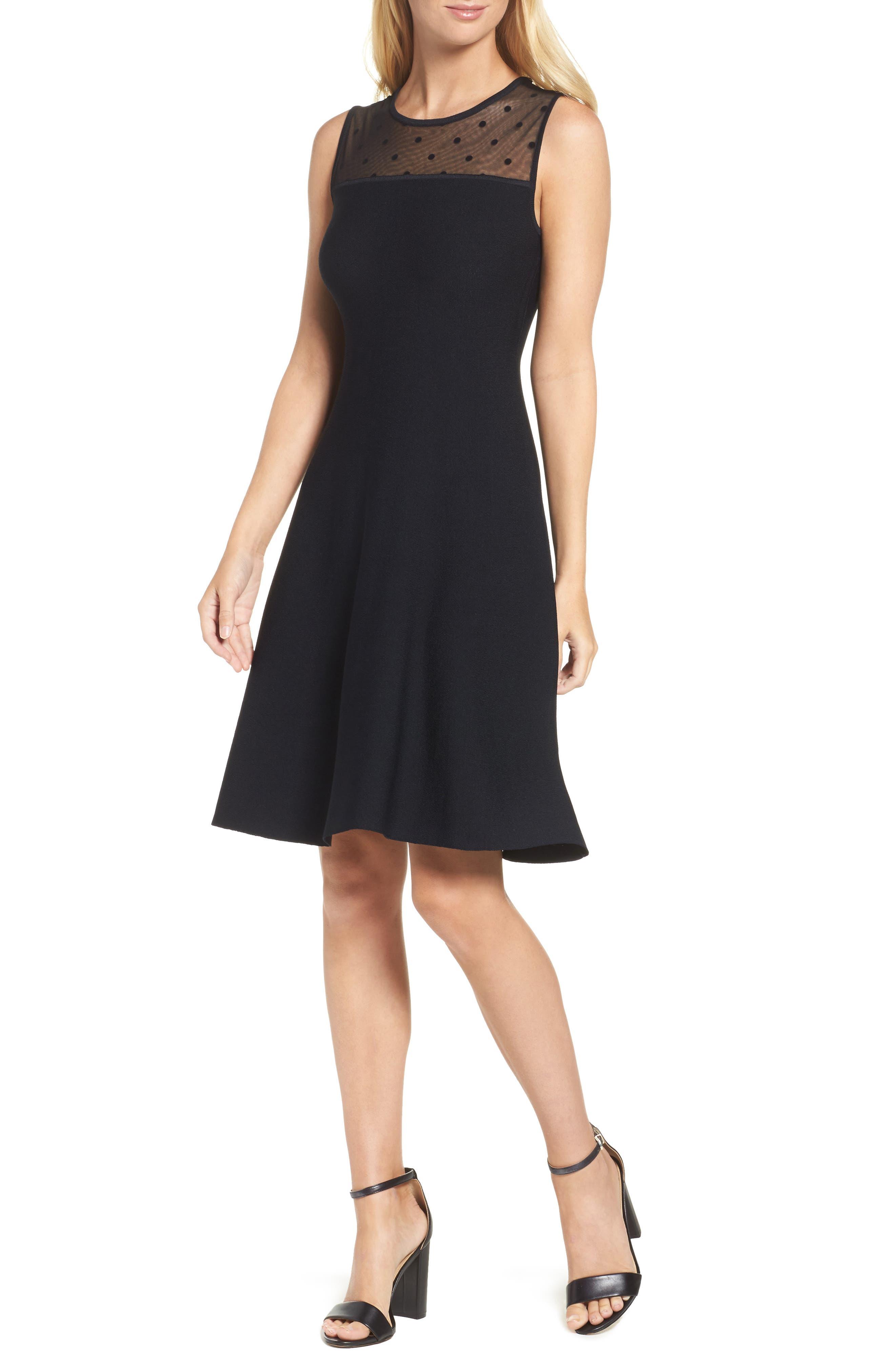 Illusion Yoke Fit & Flare Dress,                         Main,                         color, Black