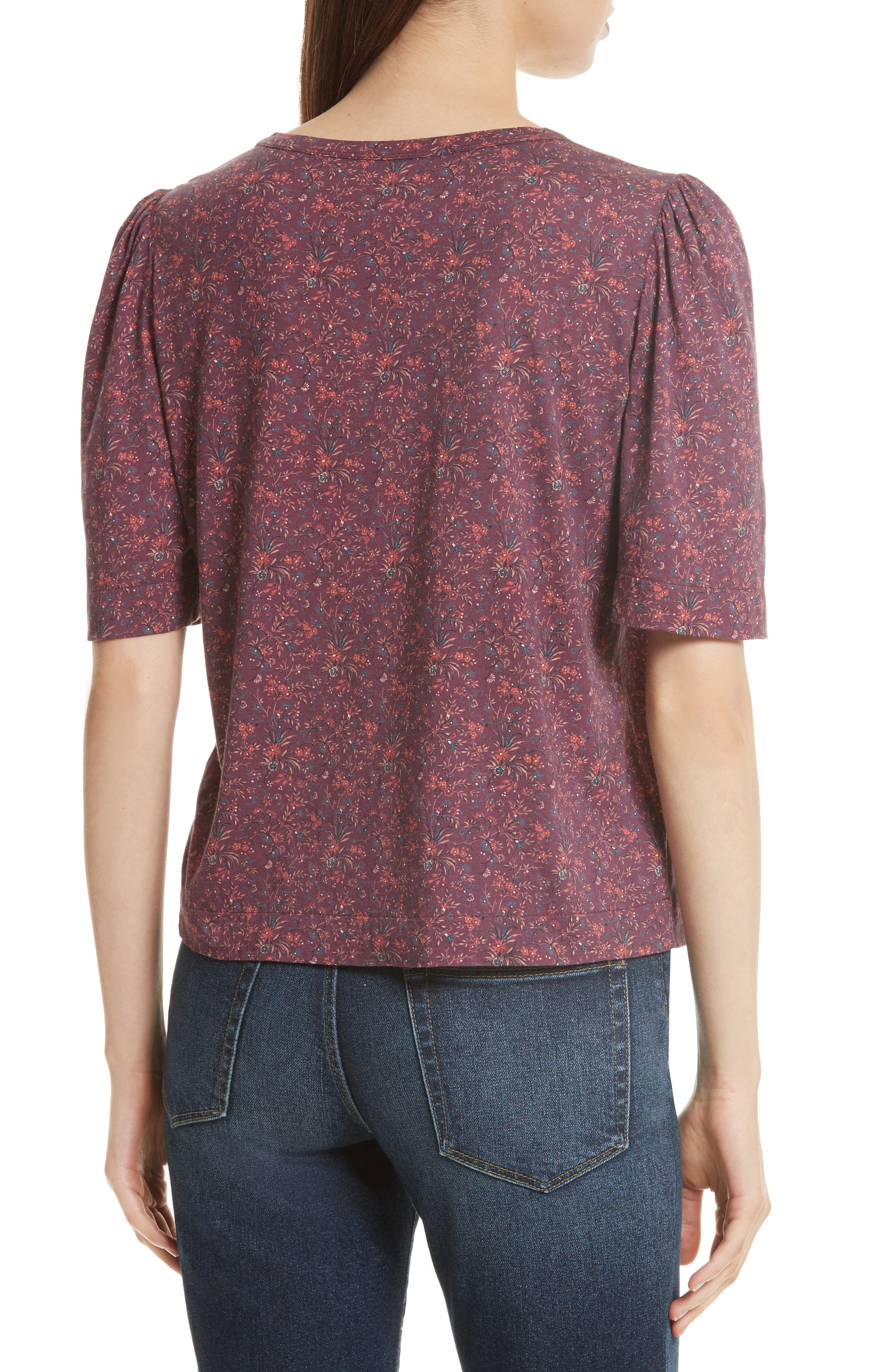 Rebecca Taylor Brittany Floral Jersey Top,                             Alternate thumbnail 2, color,                             Plum Combo