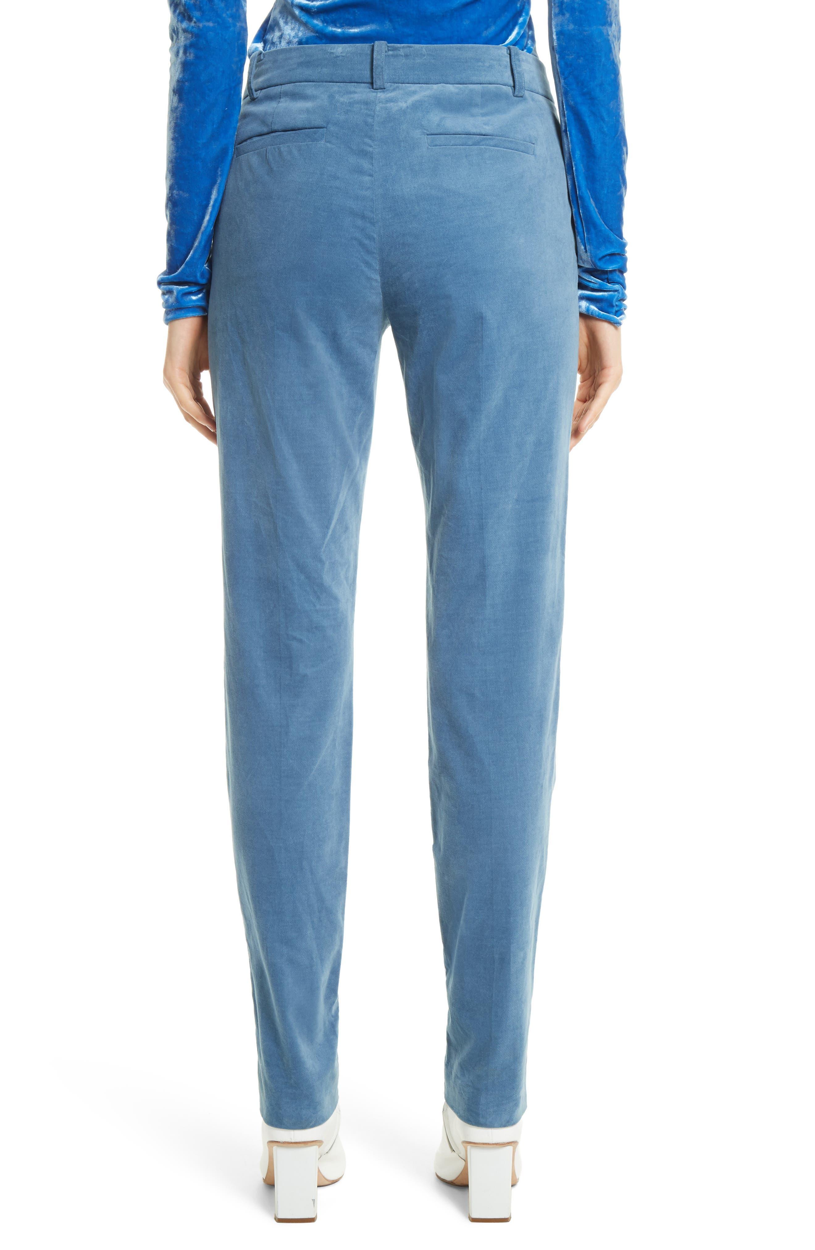Moleskin Stretch Cotton Skinny Pants,                             Alternate thumbnail 3, color,                             Blue