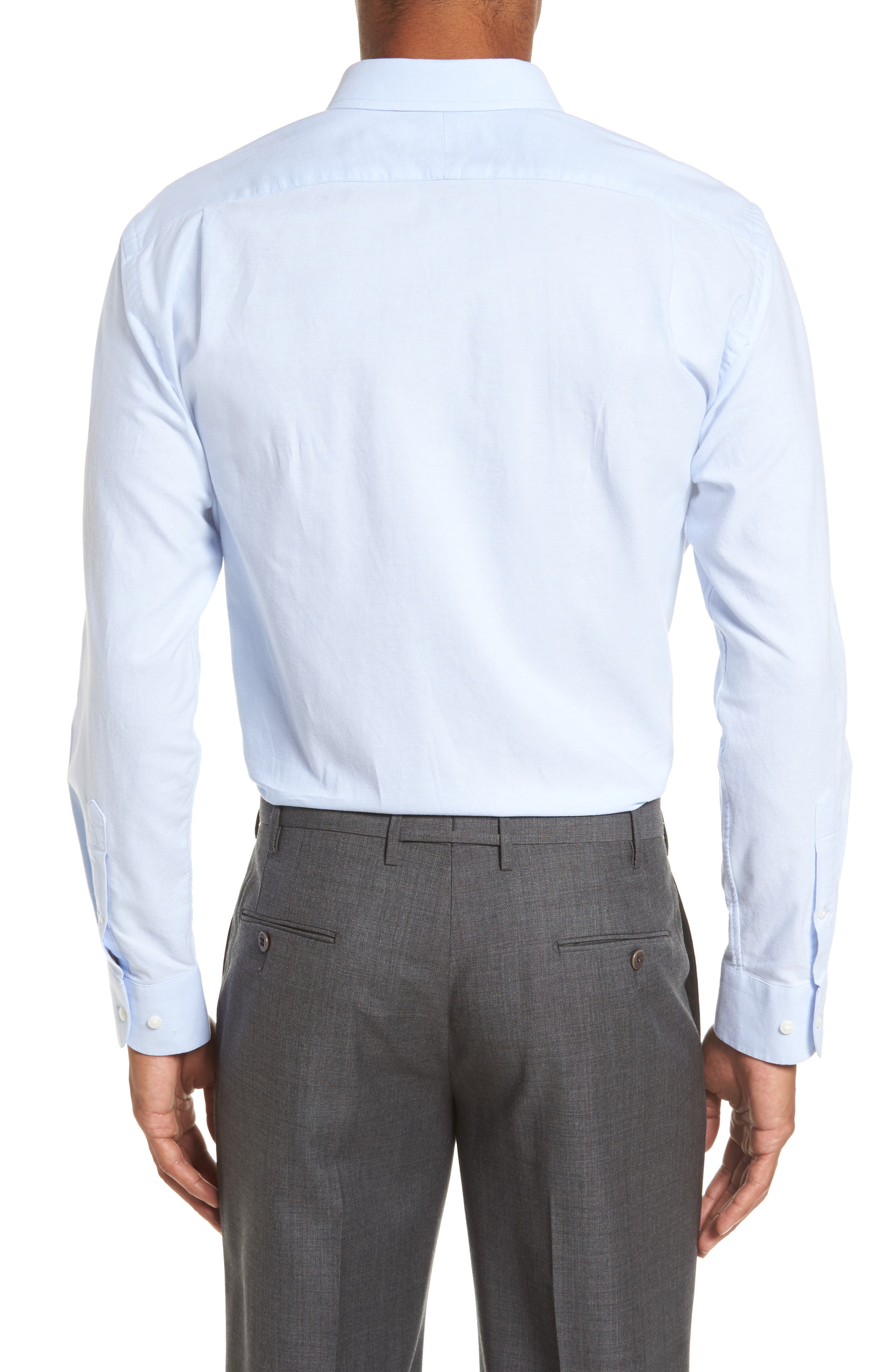 Trim Fit Solid Oxford Dress Shirt,                             Alternate thumbnail 3, color,                             Blue Grapemist