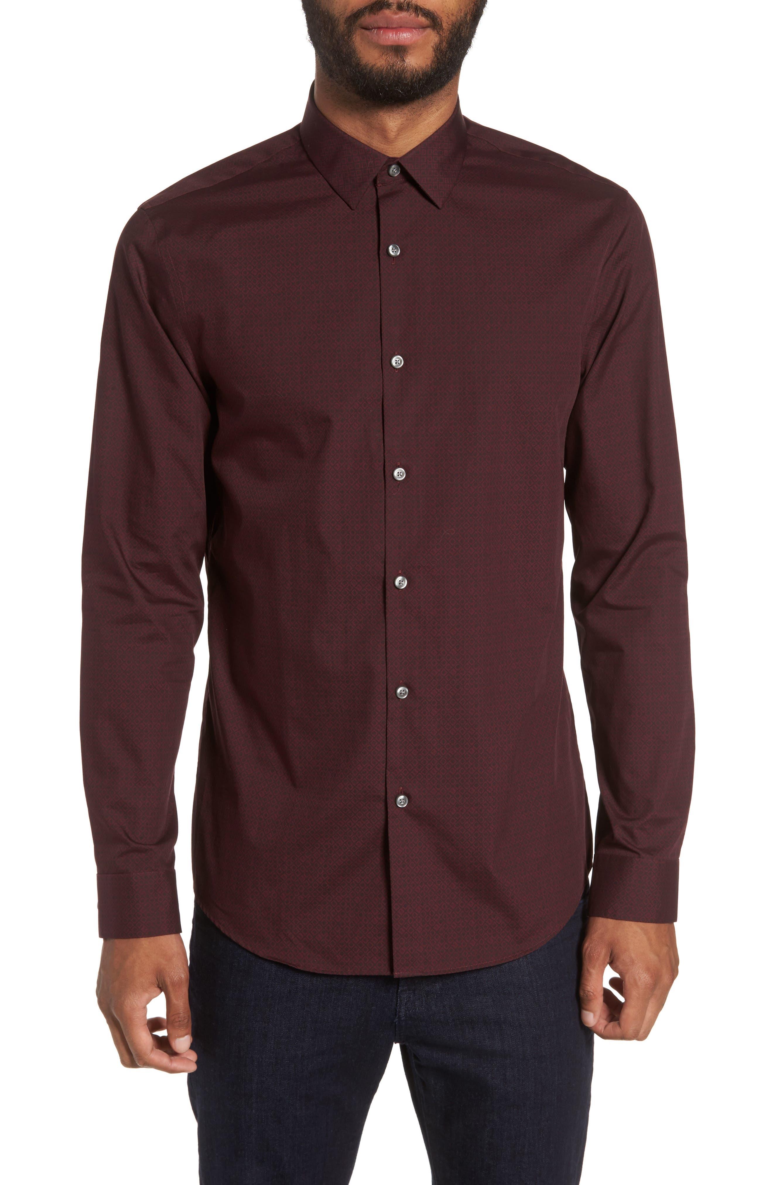 Alternate Image 1 Selected - Calibrate Slim Fit Non-Iron Diamond Print Sport Shirt