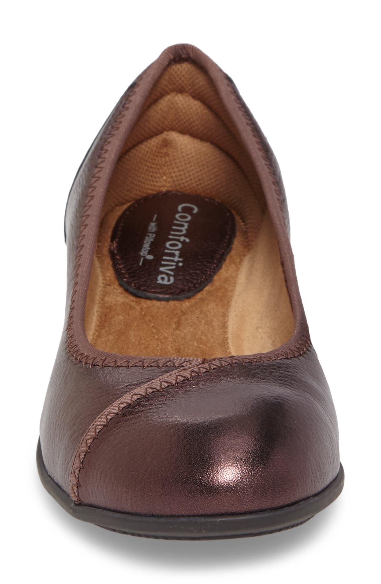 Eaton Flat,                             Alternate thumbnail 4, color,                             Chianti Metallic Leather
