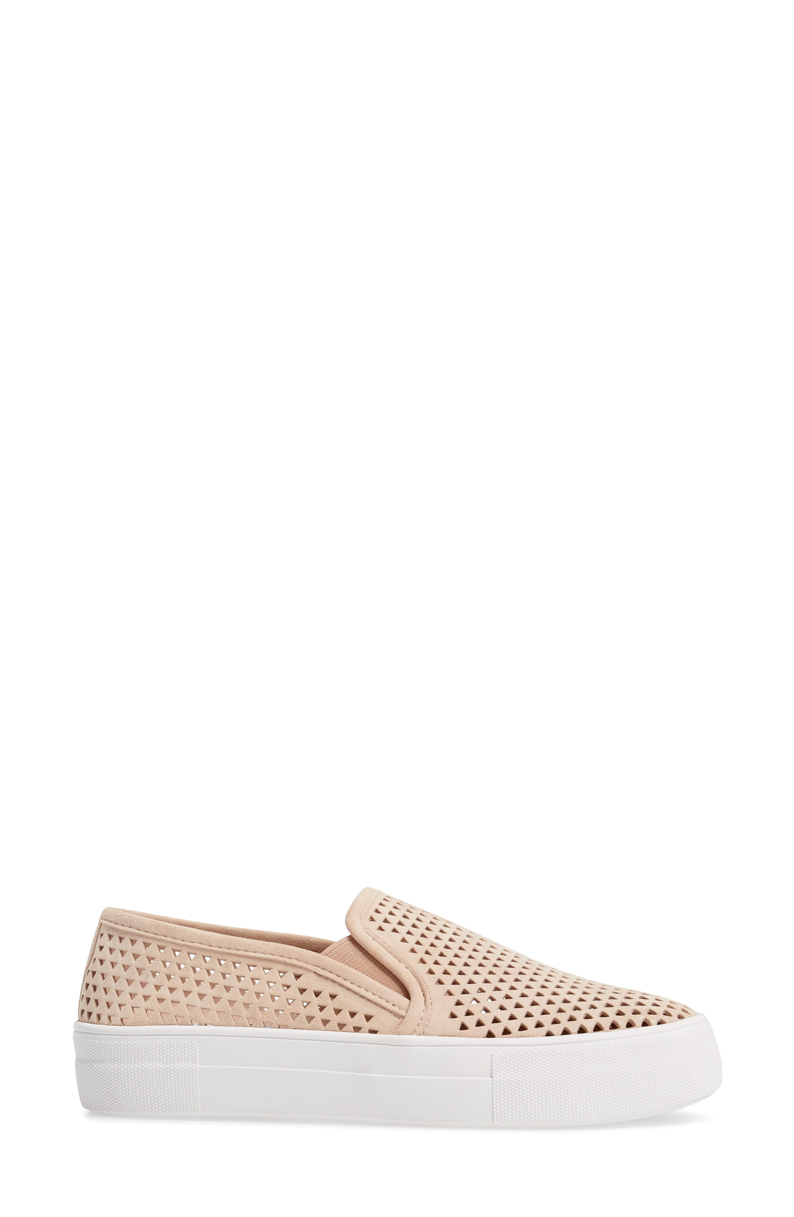 Gills Perforated Slip-On Sneaker,                             Alternate thumbnail 3, color,                             Natural Suede