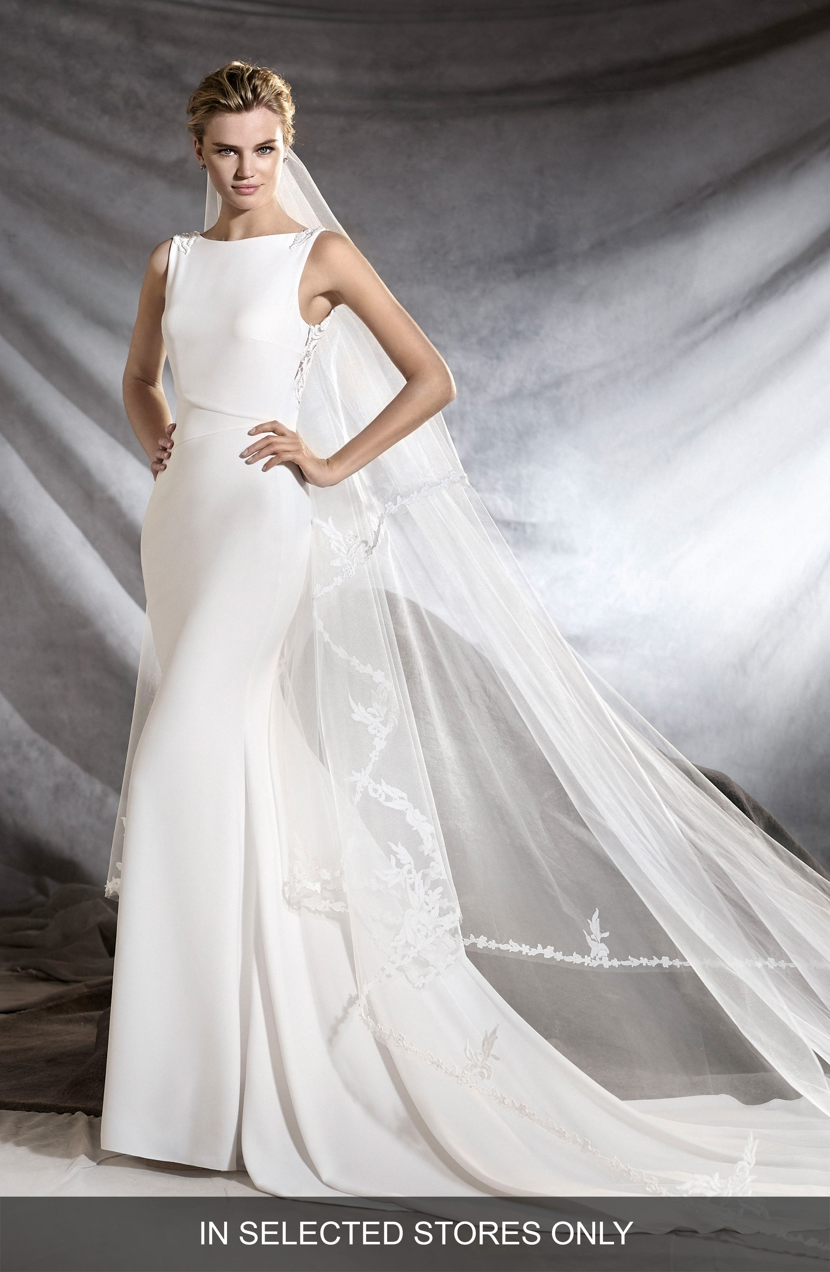 Oliana Embroidered Crepe Mermaid Gown,                             Main thumbnail 1, color,                             Off White