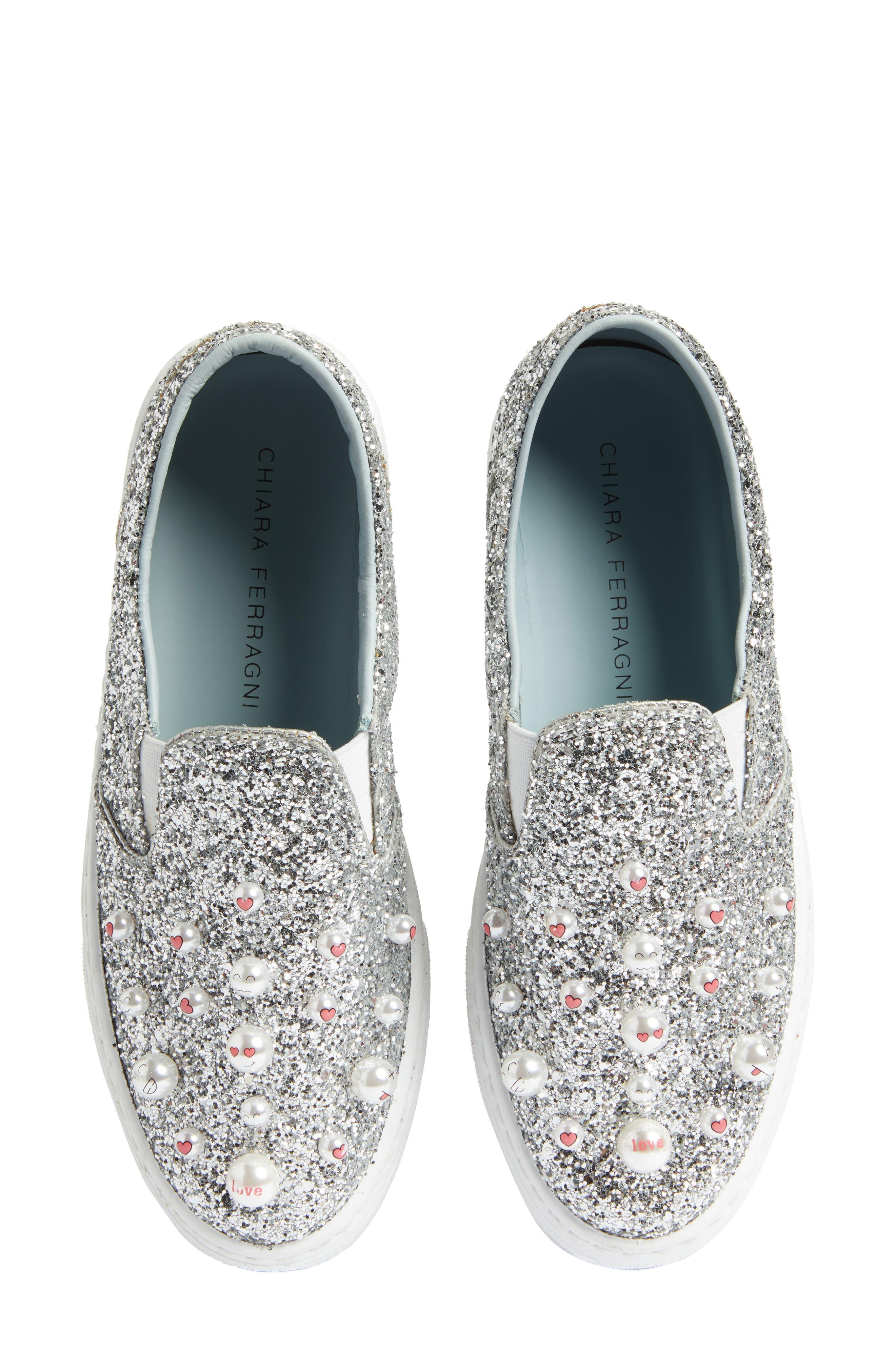 Candies Embellished Slip-On Sneaker,                         Main,                         color, Silver