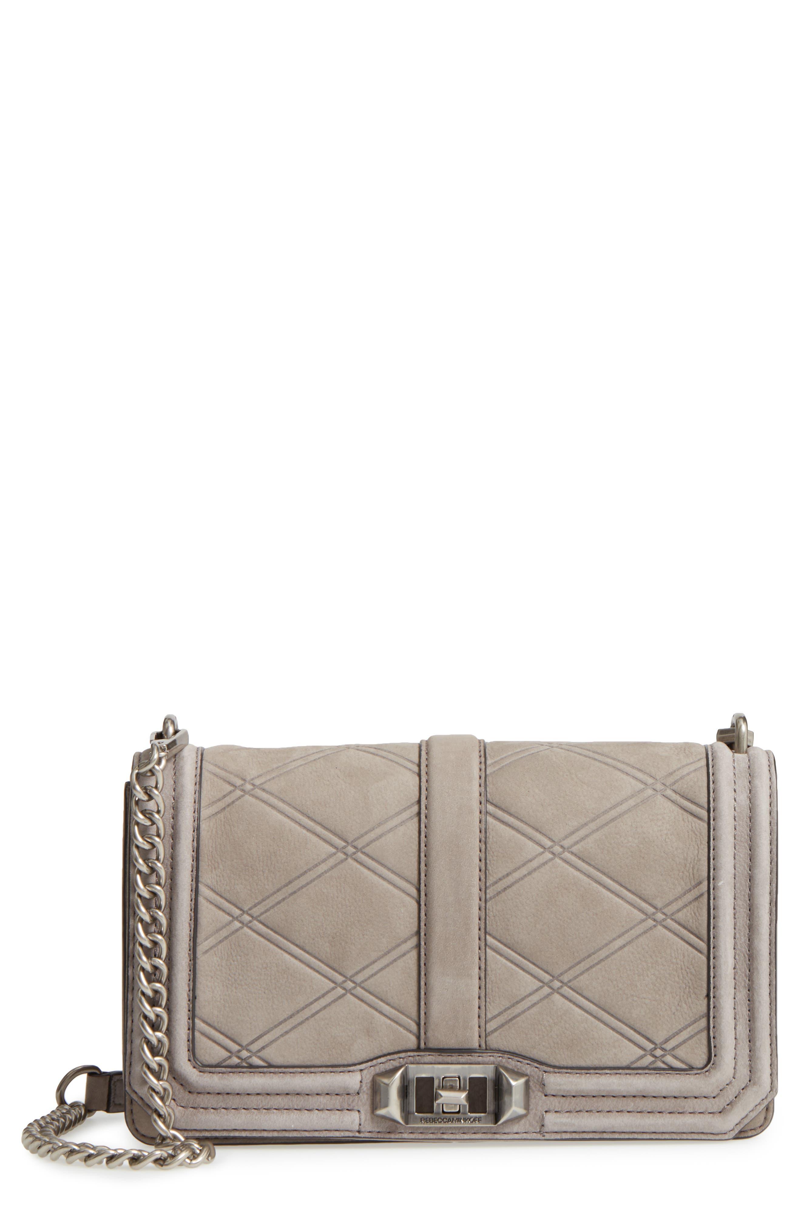 Love Nubuck Crossbody Bag,                             Main thumbnail 1, color,                             Grey