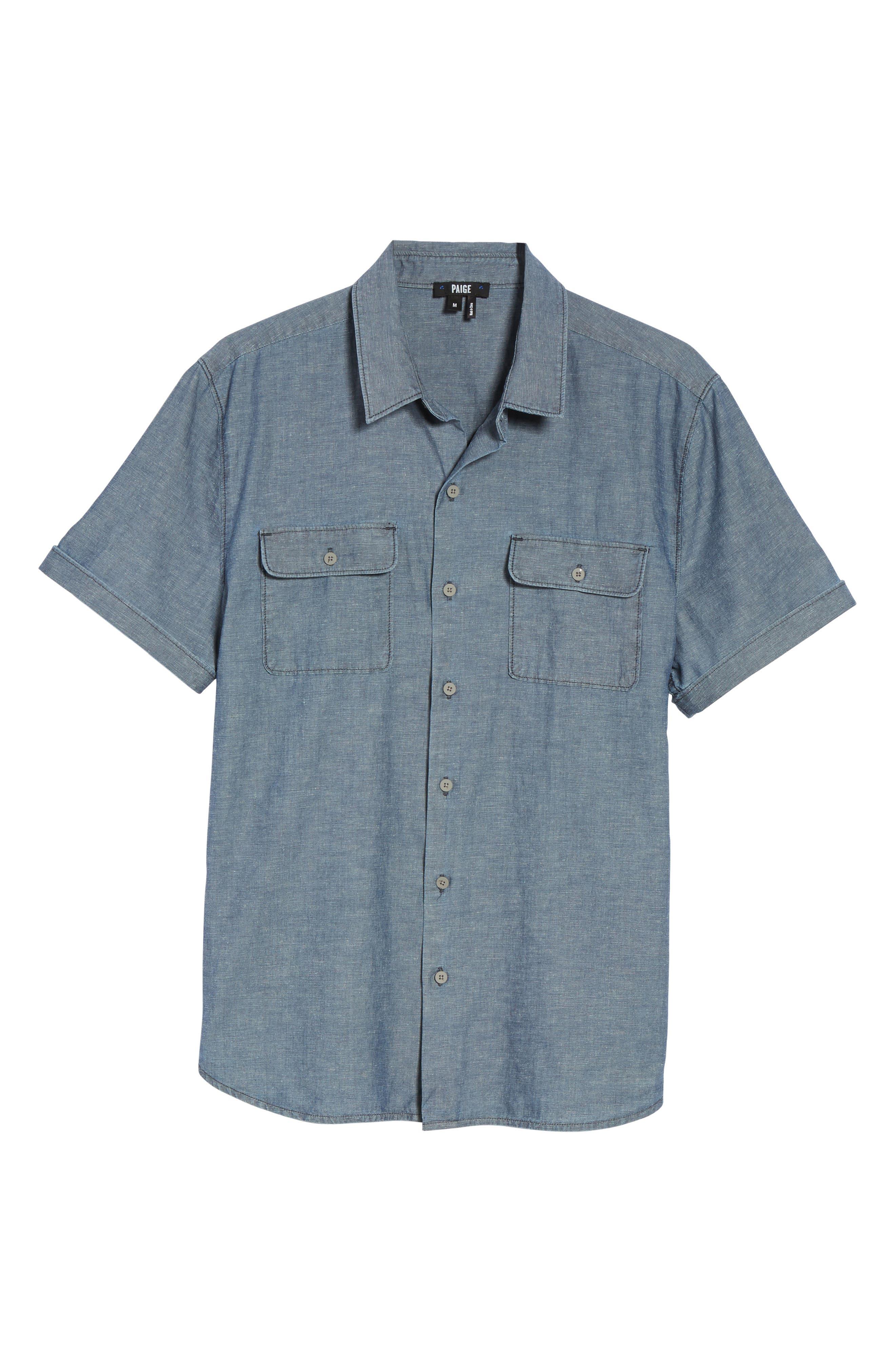 Alternate Image 5  - PAIGE Flynn Lightweight Denim Shirt