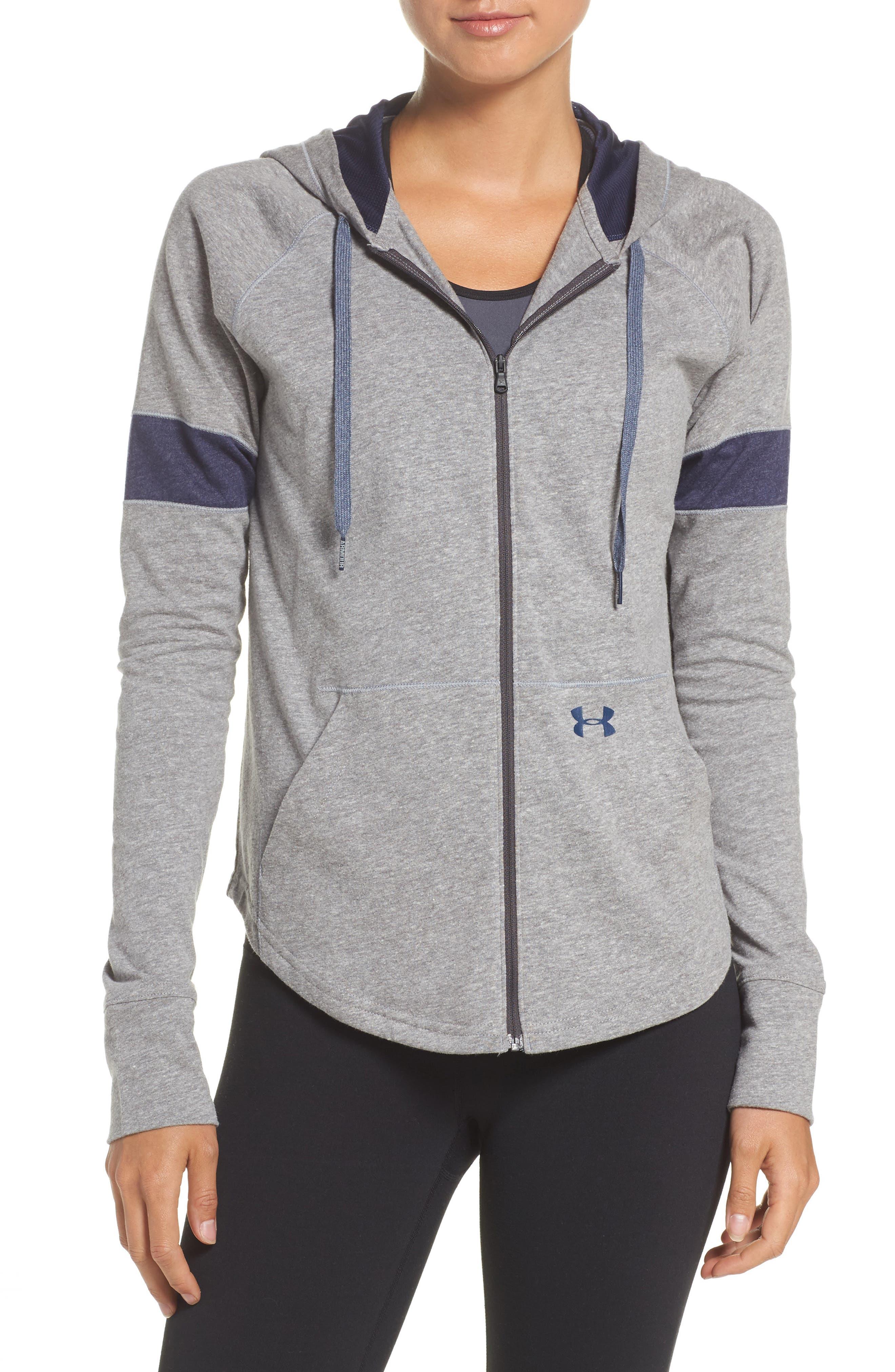 Zip Hoodie,                         Main,                         color, Charcoal/ Midnight Navy