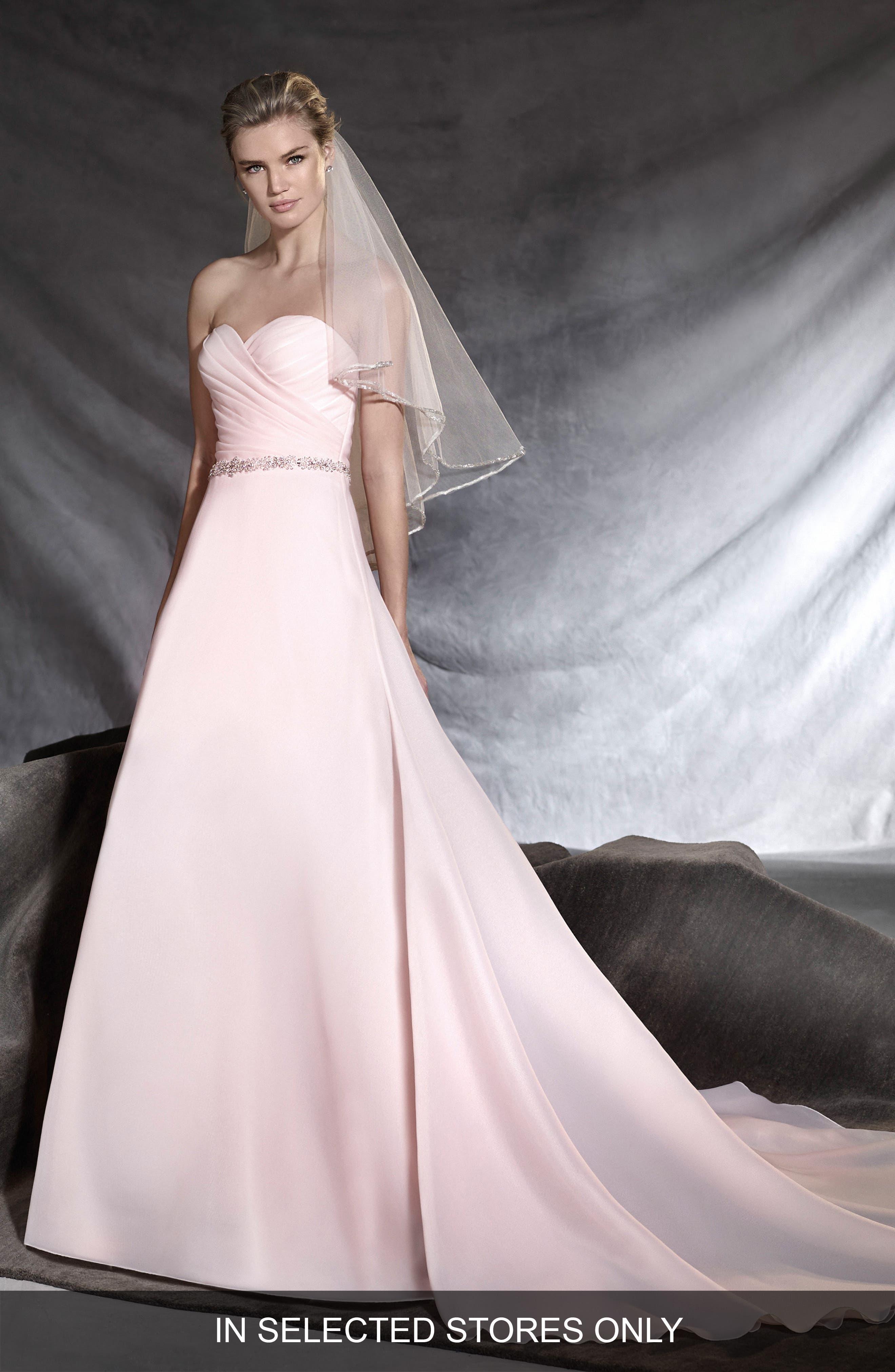 Main Image - Pronovias Ortuella Strapless Chiffon A-Line Gown