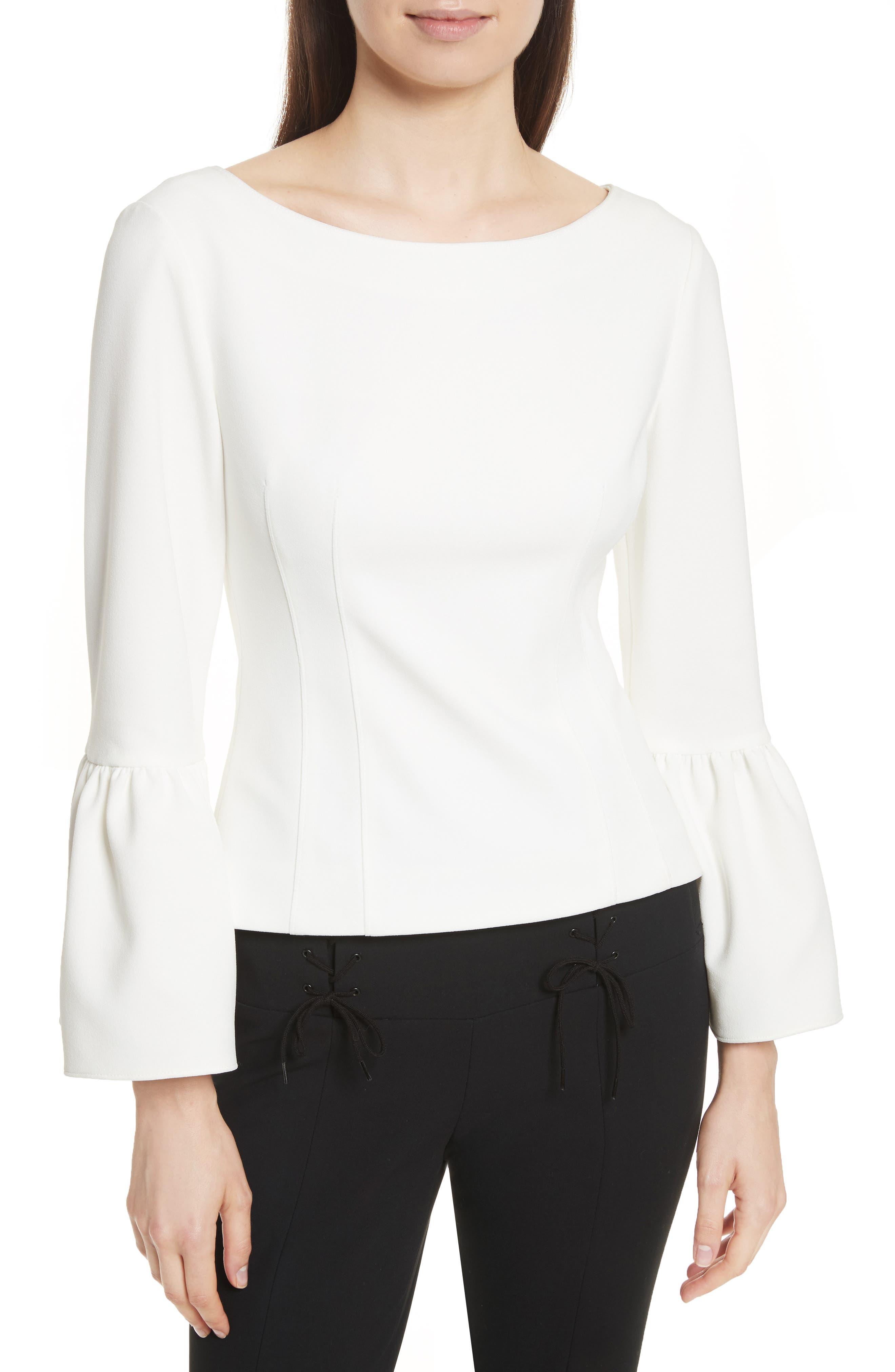 Stretch Crepe Corset Top,                         Main,                         color, White