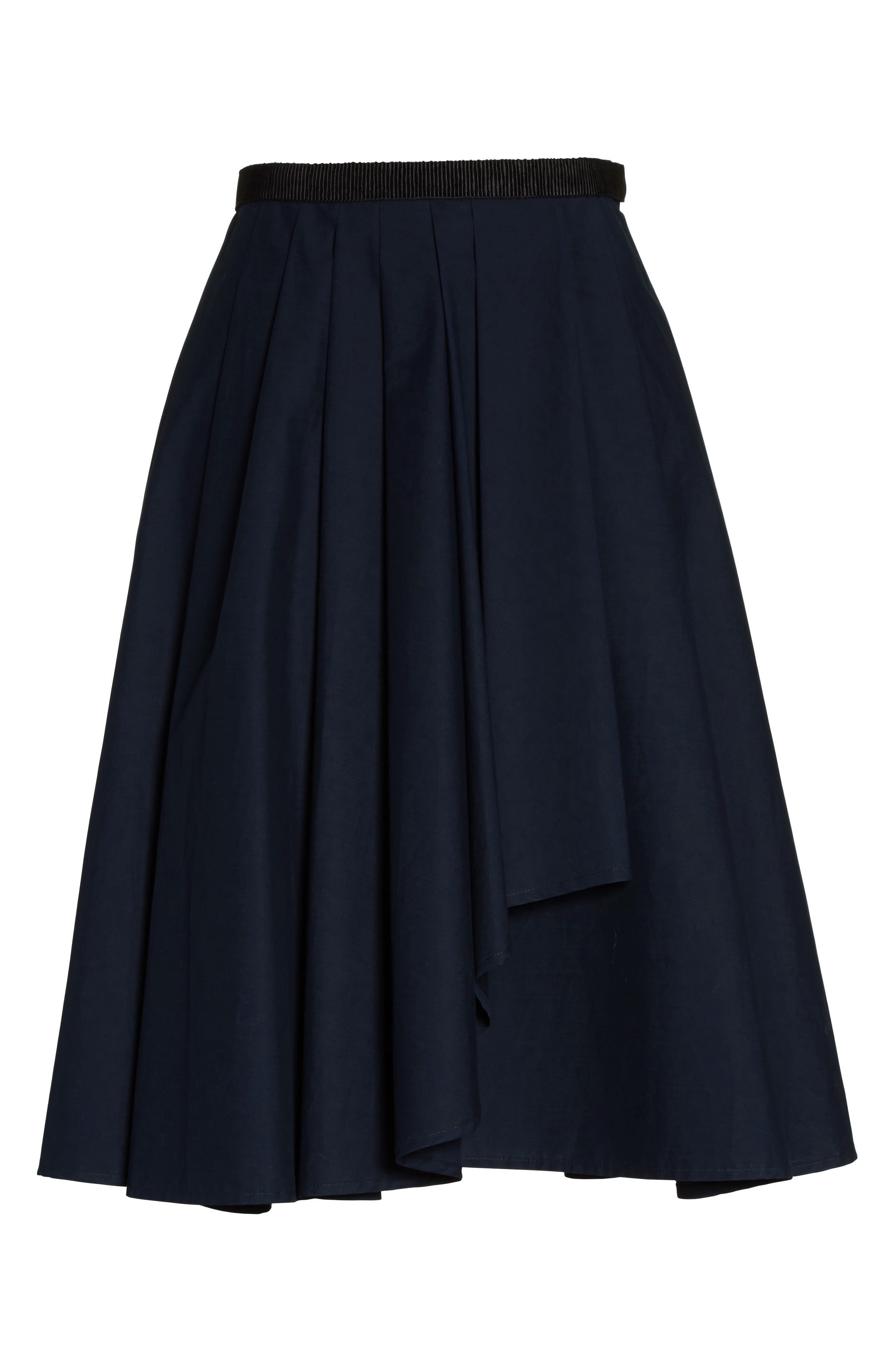 Ruffle Cotton A-Line Skirt,                             Alternate thumbnail 4, color,                             Navy