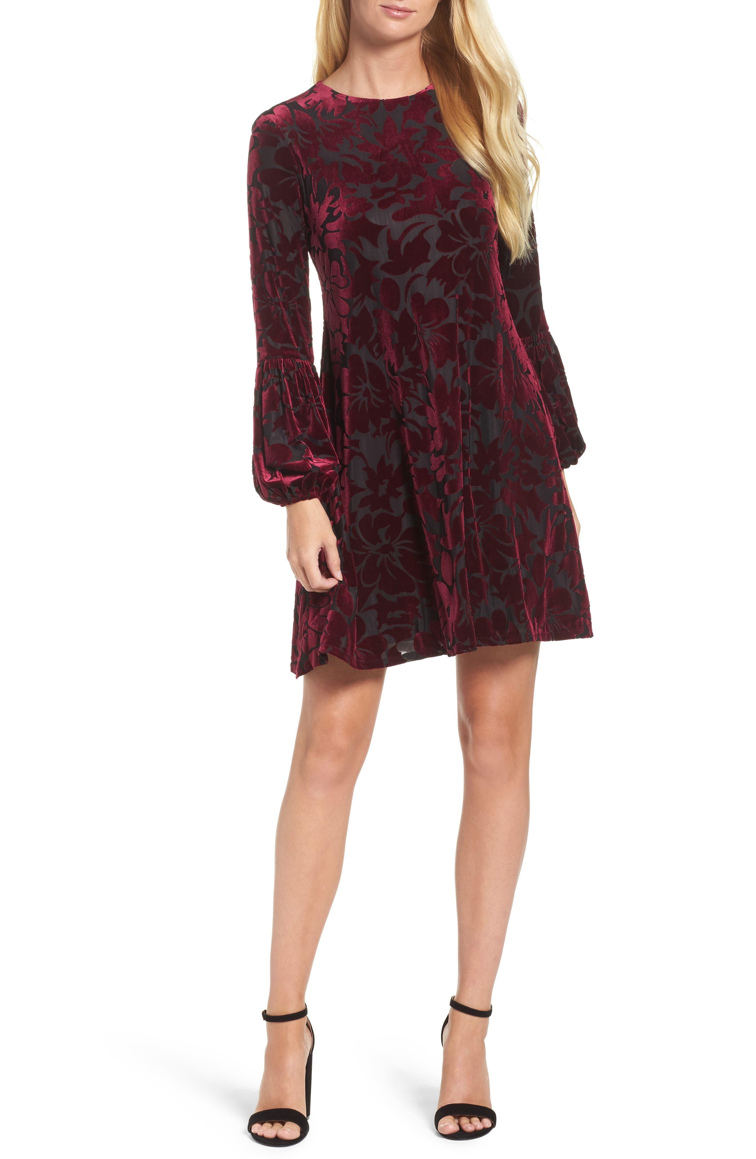 Taylor Dresses Burnout Velvet Swing Dress