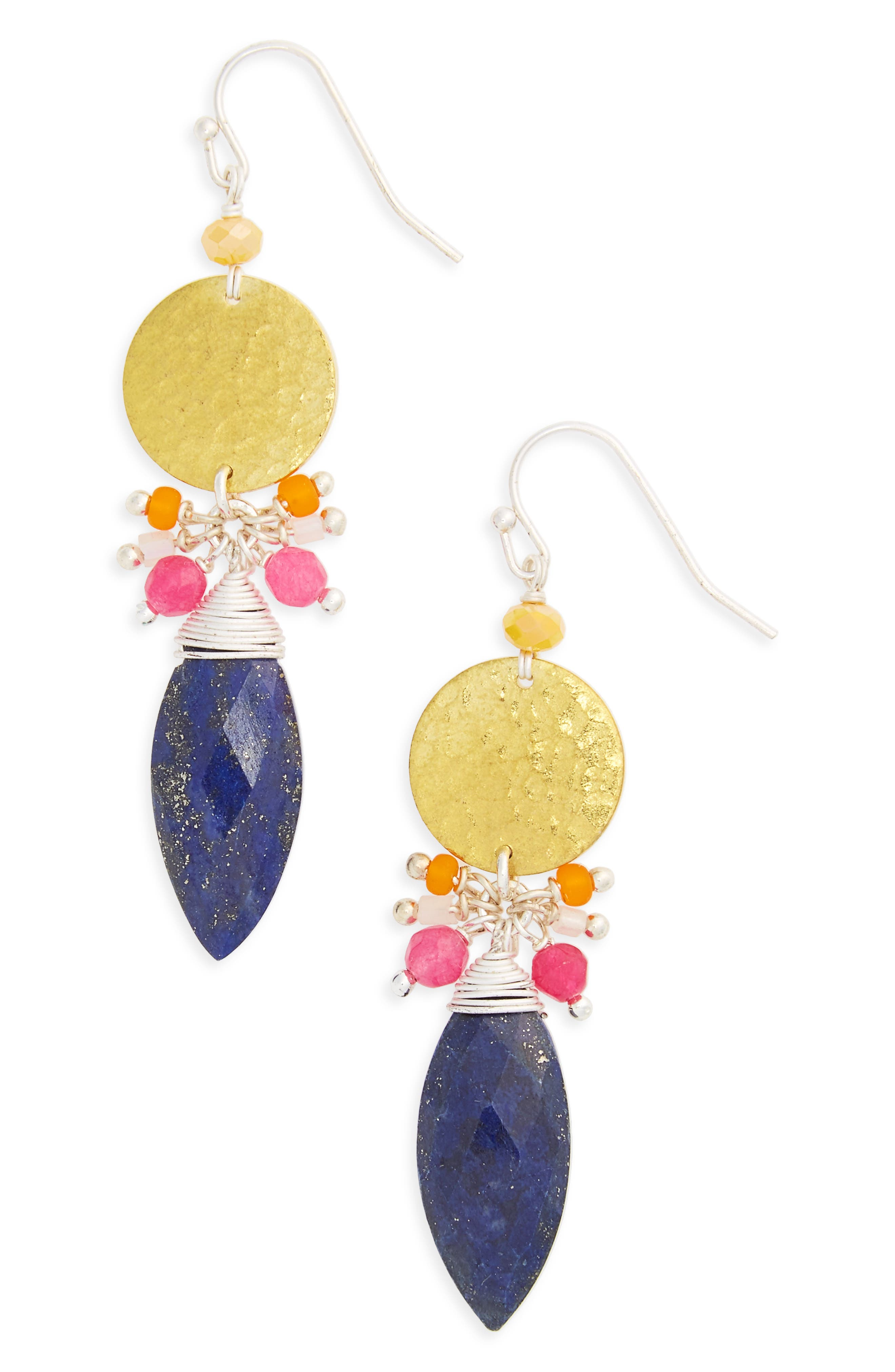 NAKAMOL DESIGN Disc Stone Statement Earrings