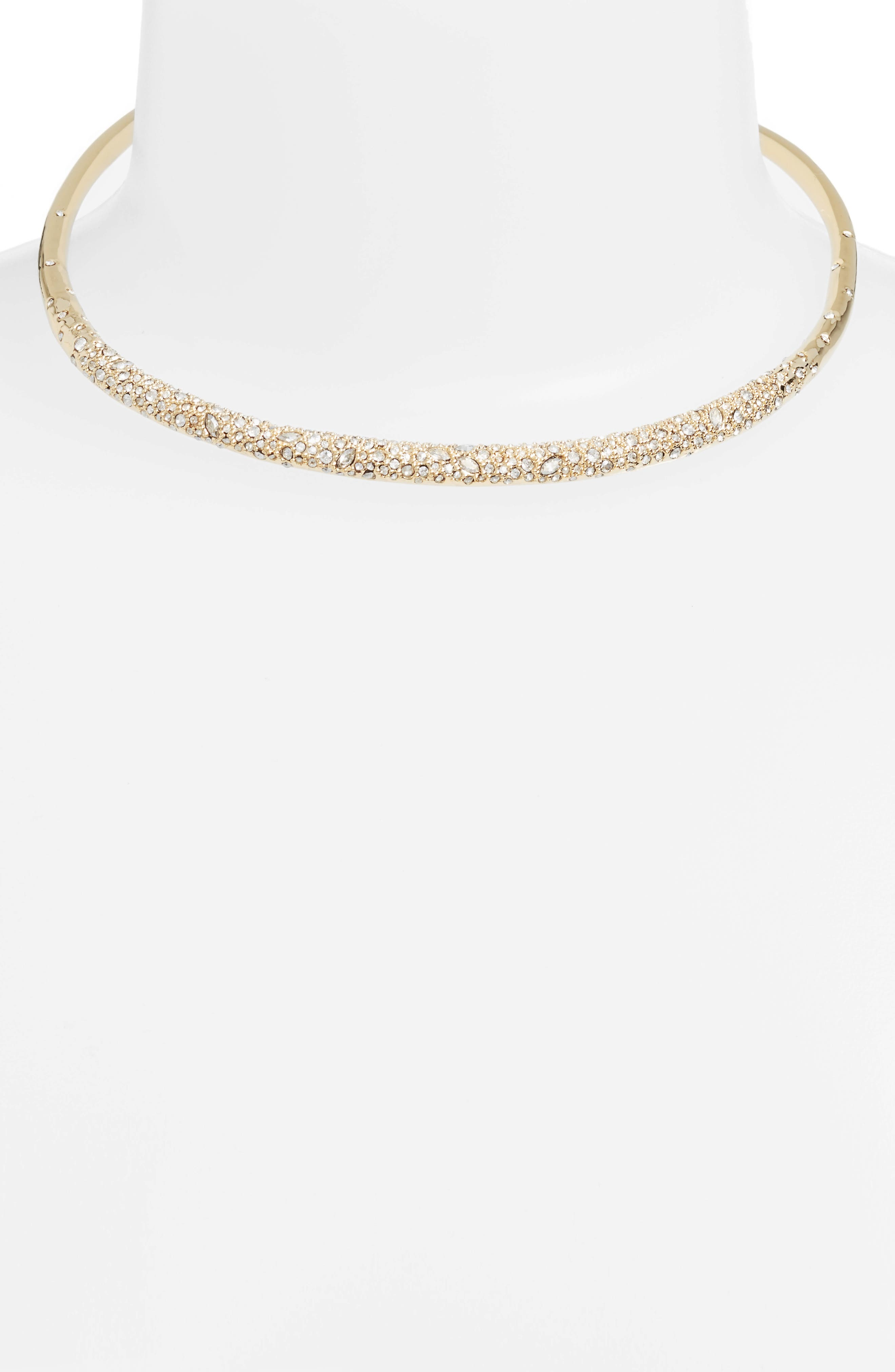 Thin Encrusted Collar Necklace,                             Alternate thumbnail 2, color,                             Crystal/ Gold