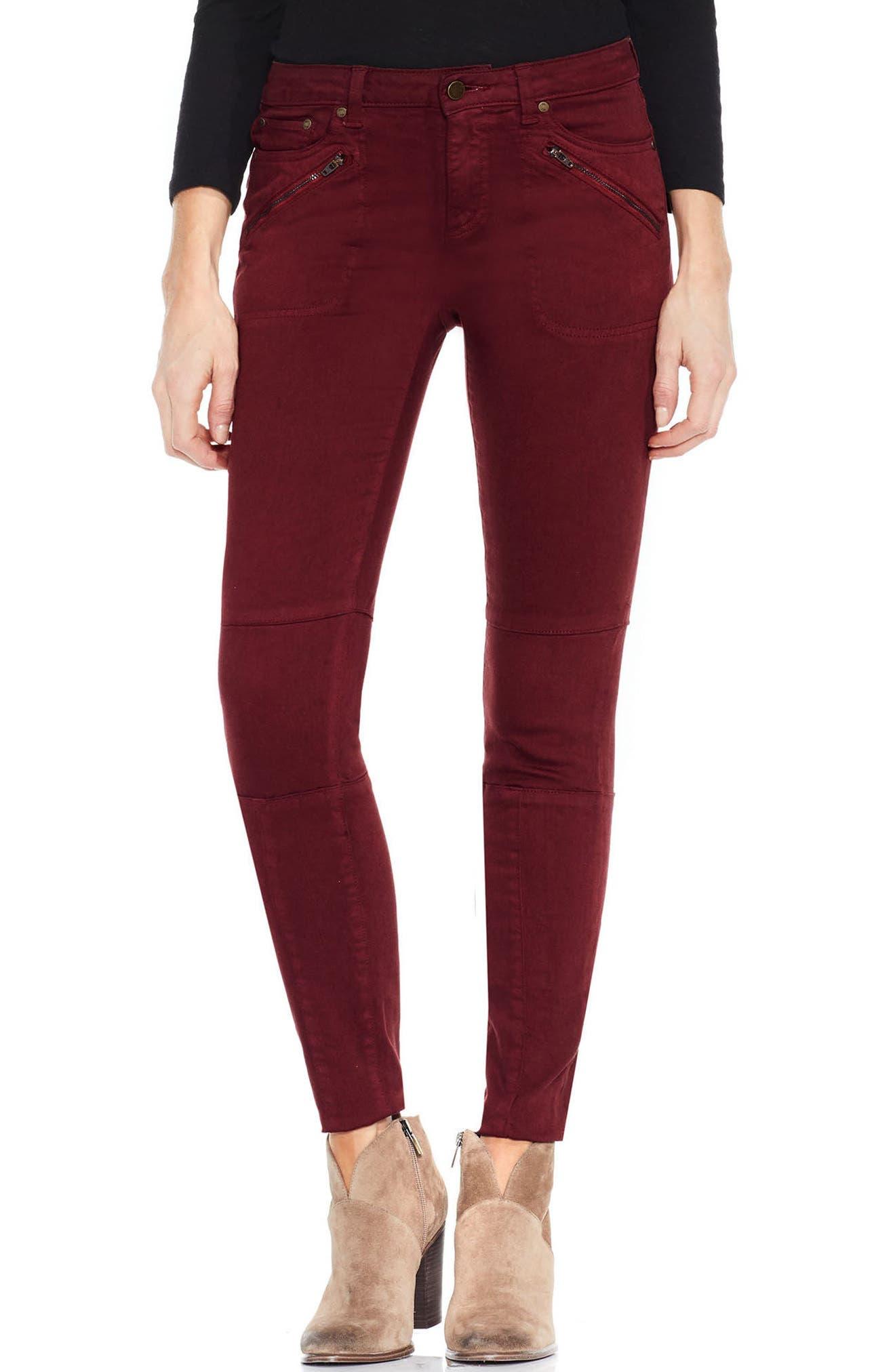 D-Luxe Twill Moto Jeans,                         Main,                         color, Dark Port