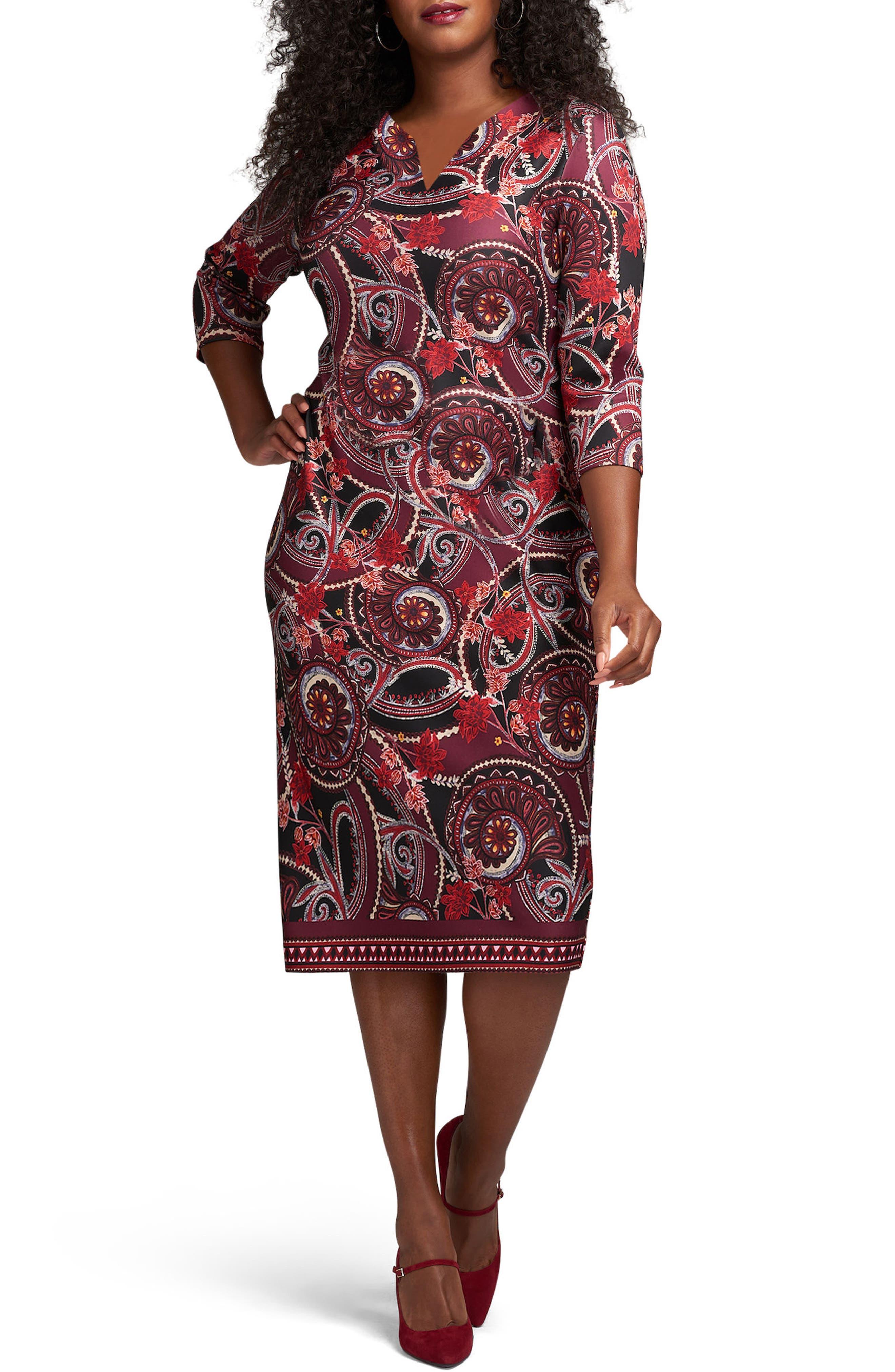 Floral Paisley Scuba Sheath Dress,                         Main,                         color, Wine