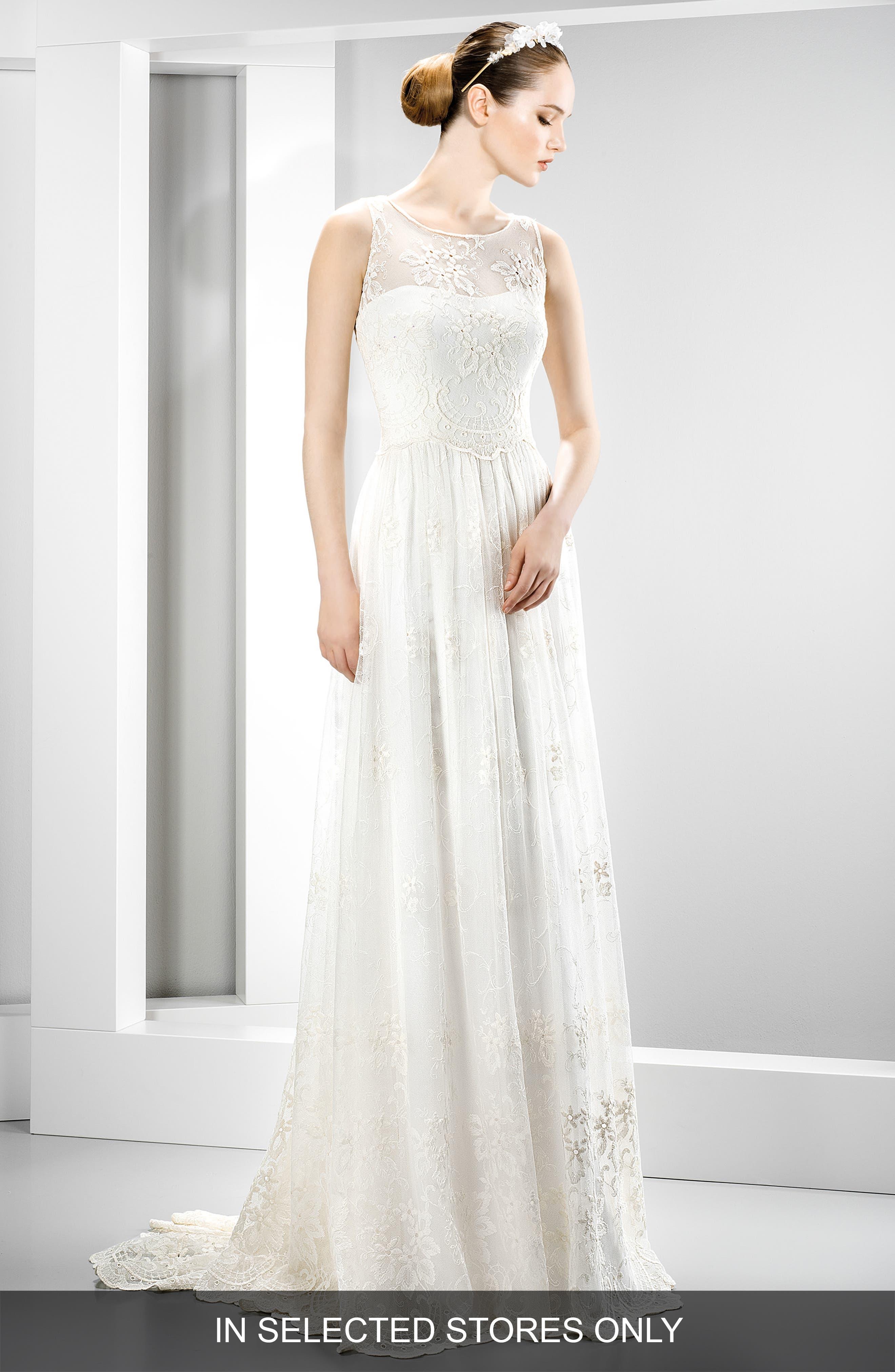 Illusion Lace Boho Dress,                             Main thumbnail 1, color,                             Ivory