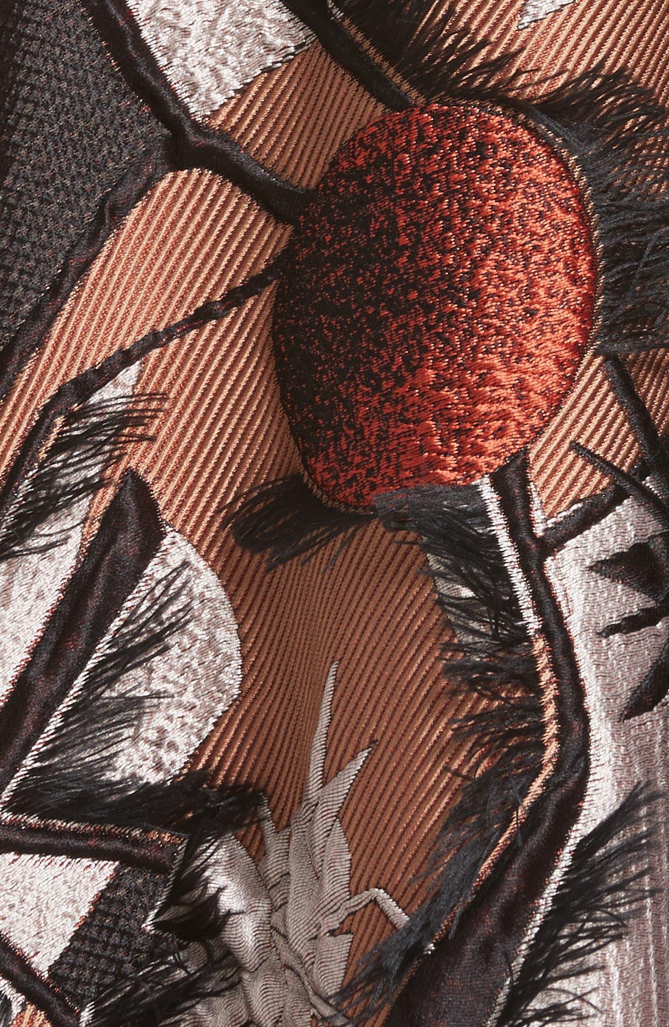 Sharpin Silk Blend Jacquard Skirt,                             Alternate thumbnail 5, color,                             Black Orange Blue