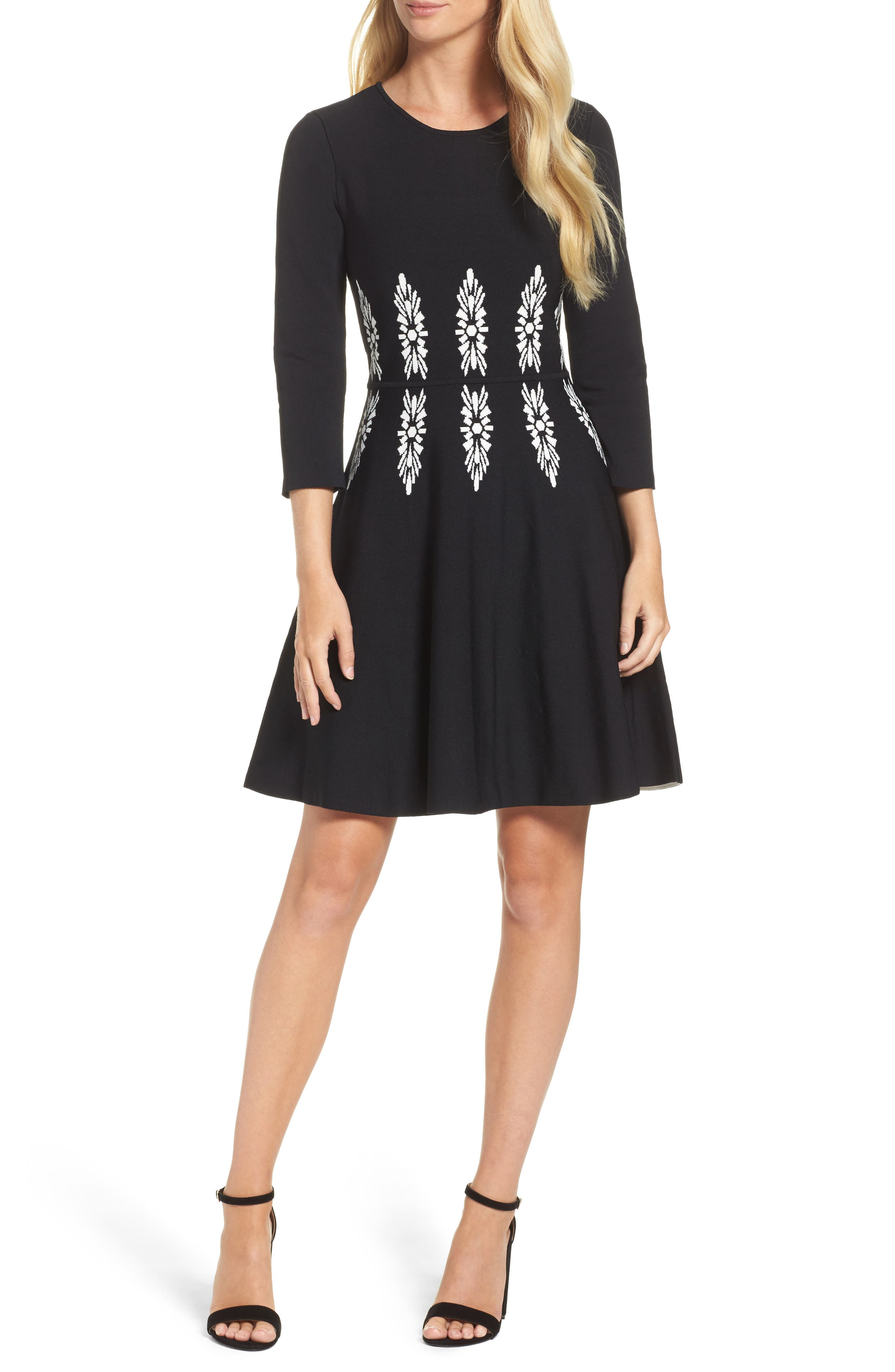 Three-Quarter Sleeve Fit & Flare Dress,                         Main,                         color, Black/ White