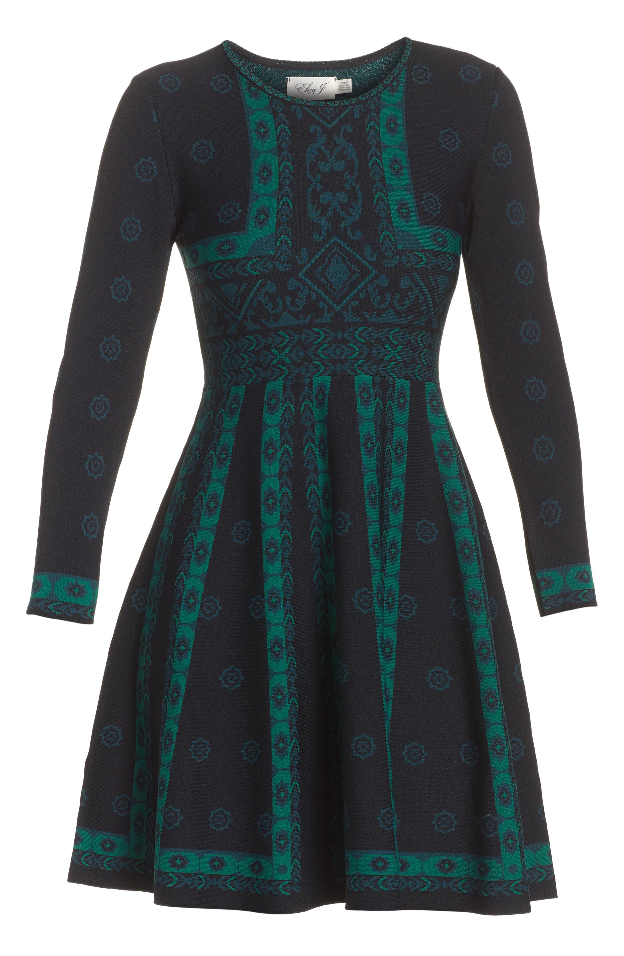 Pattern Double-Knit Fit & Flare Dress,                             Alternate thumbnail 6, color,                             Multi