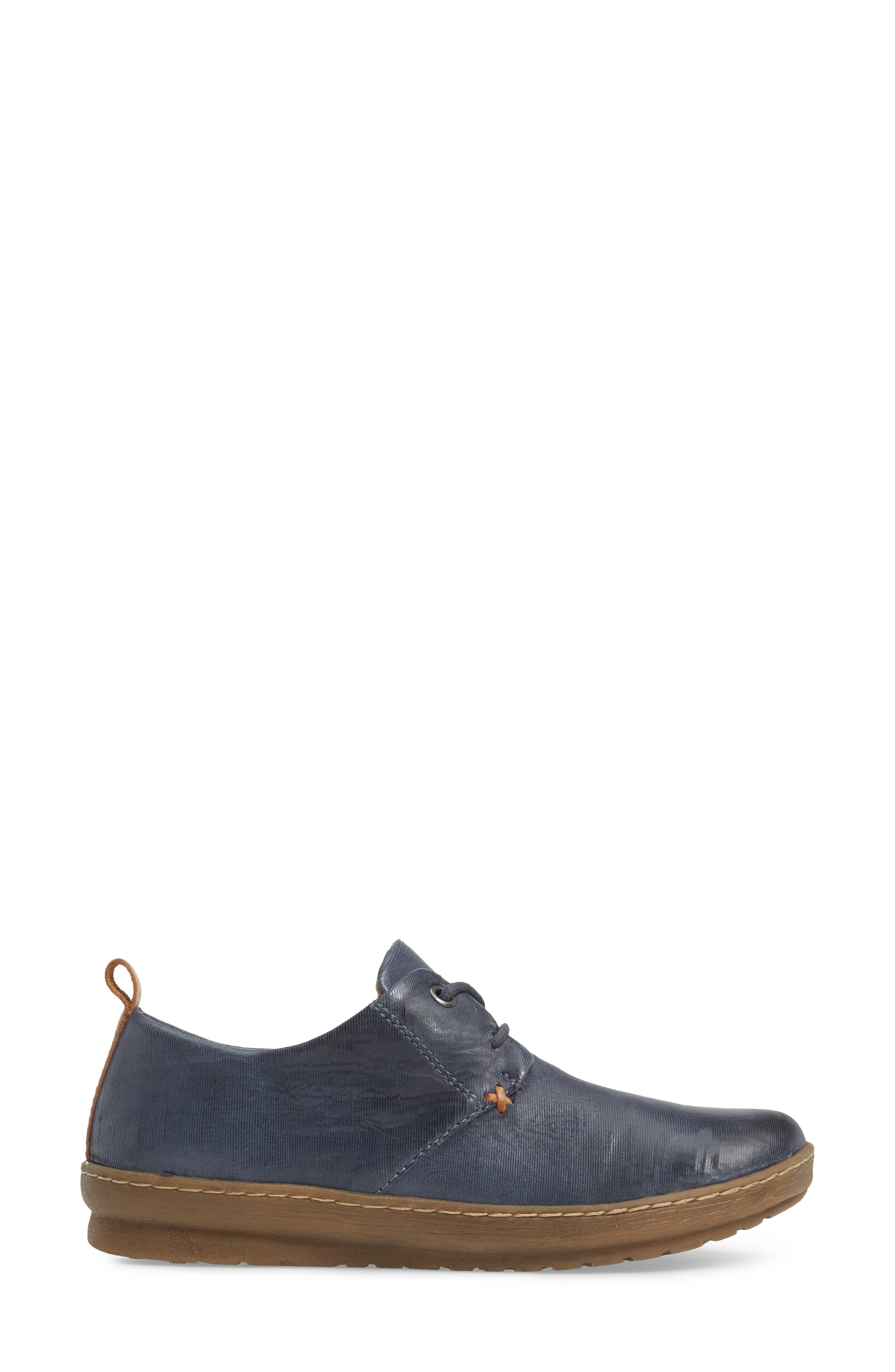 Cassandra Siped Sneaker,                             Alternate thumbnail 3, color,                             Denim Blue Leather