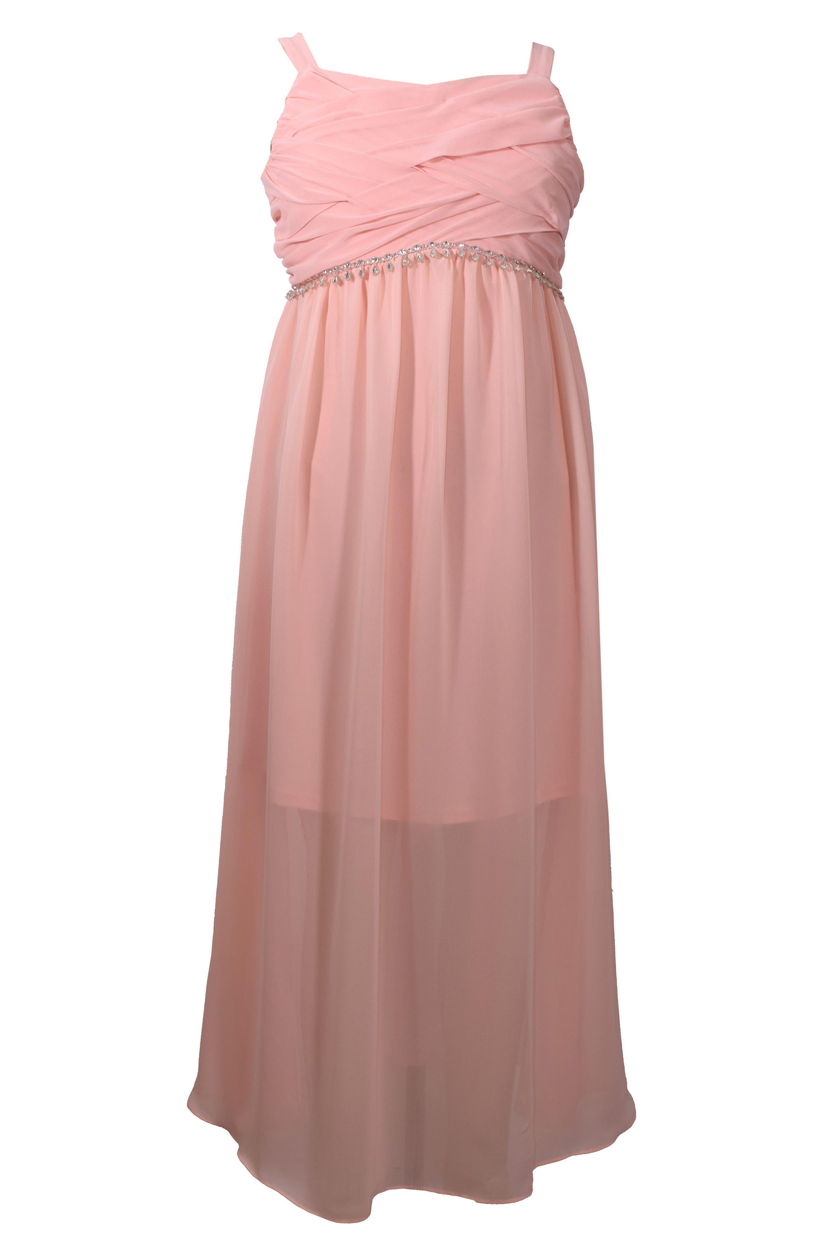 Sleeveless Chiffon Dress,                             Main thumbnail 1, color,                             Peach