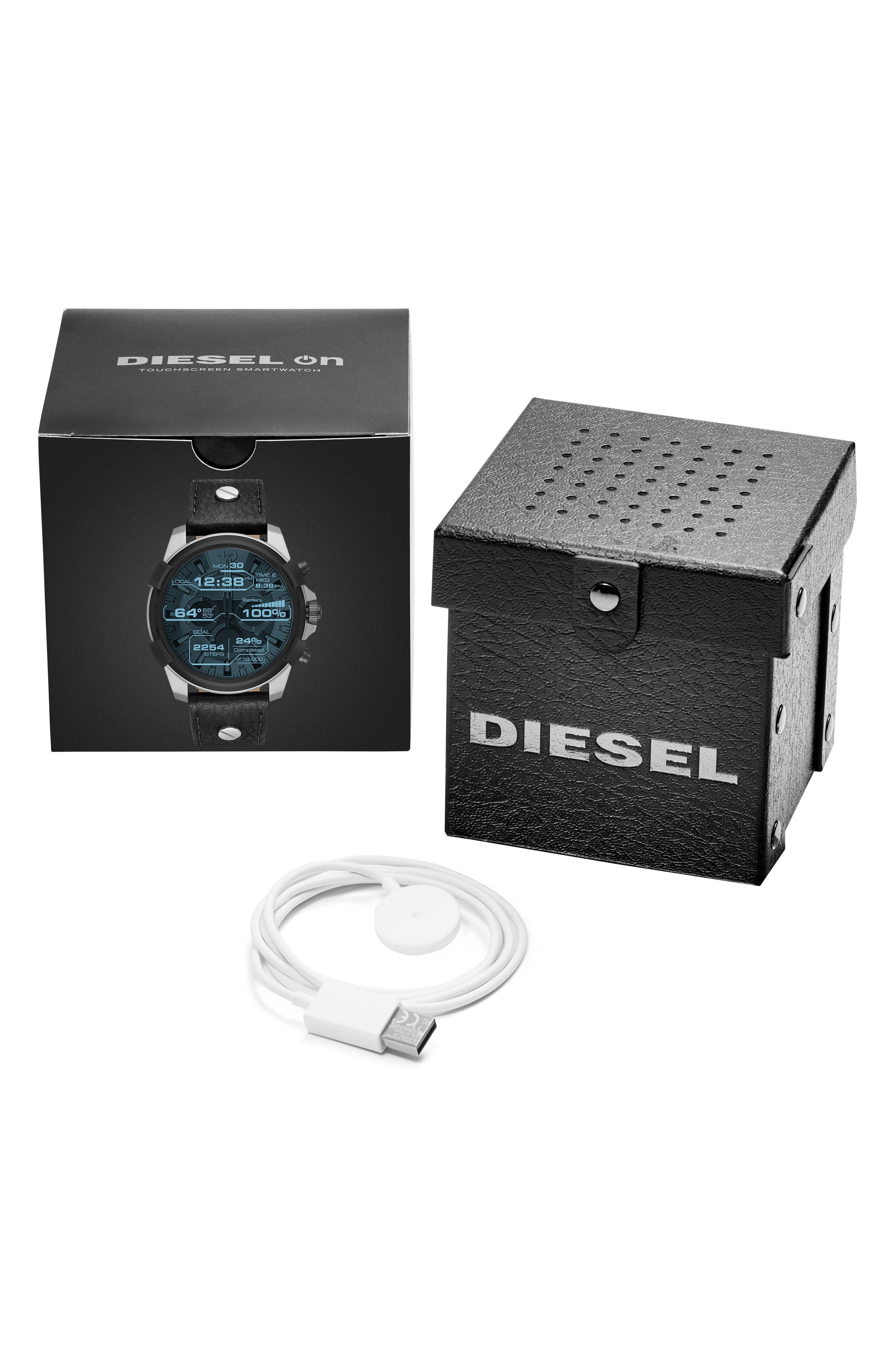 Alternate Image 4  - DIESEL® Full Guard Touchscreen Leather Strap Smartwatch, 48mm x 54mm