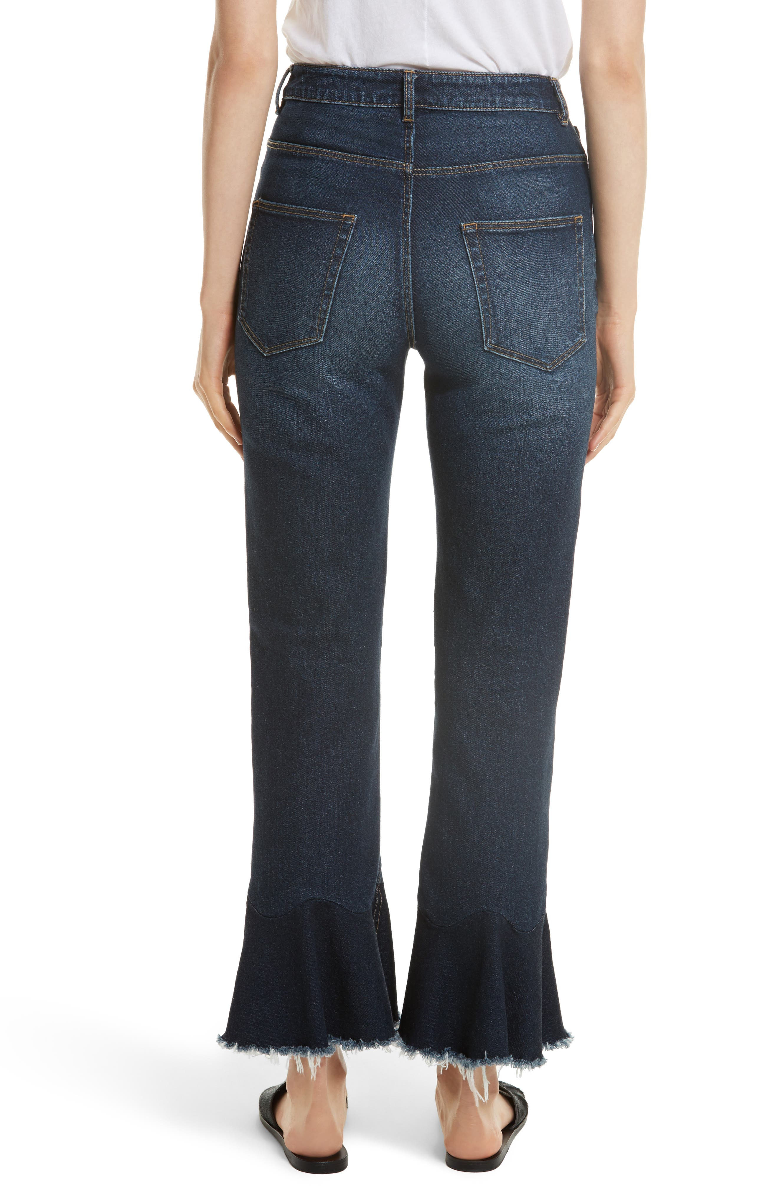 Ruffle Hem Jeans,                             Alternate thumbnail 2, color,                             Blue Midnight Wash