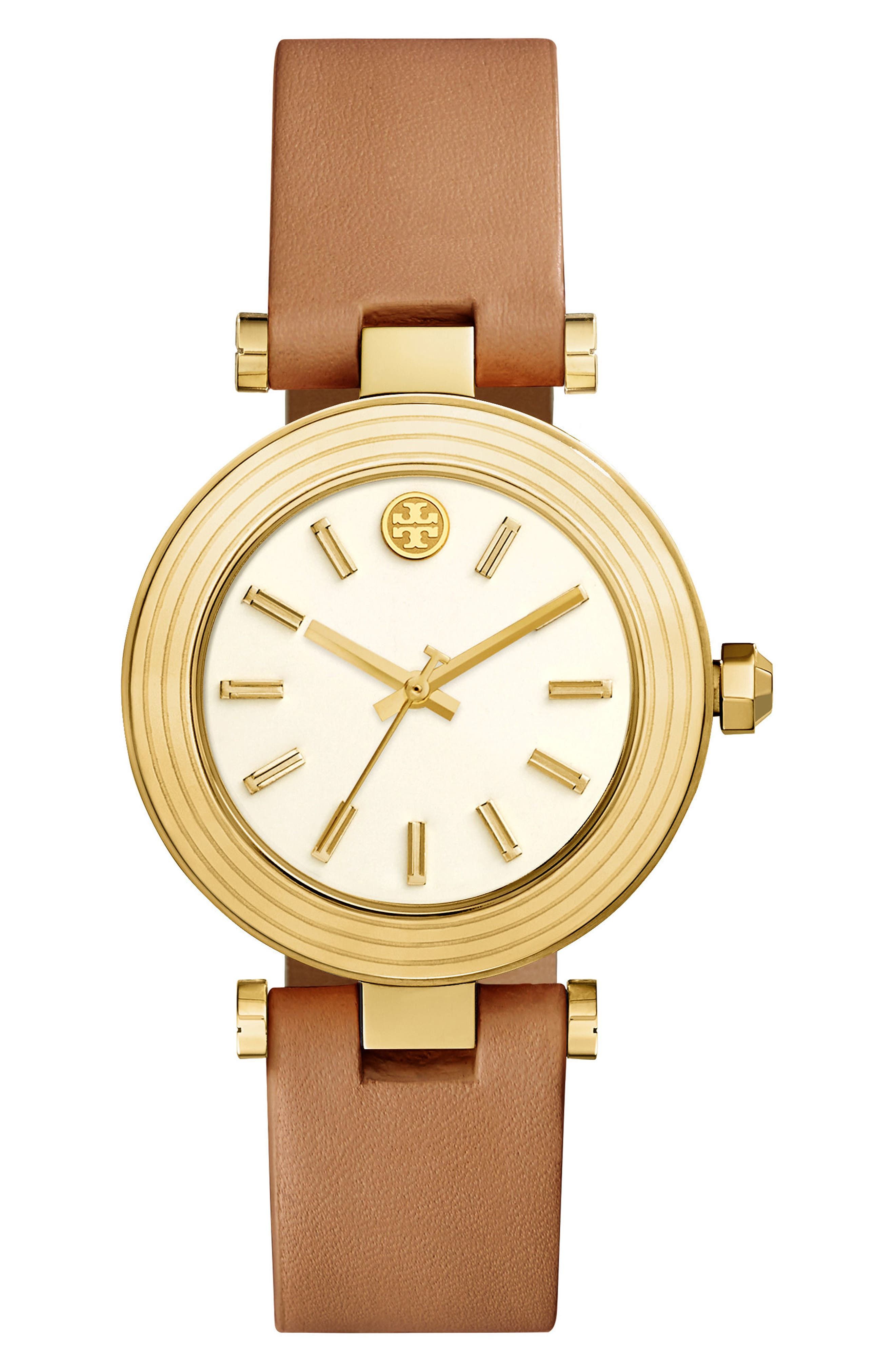 Classic-T Leather Strap Watch, 36mm,                         Main,                         color, Luggage/ Ivory/ Gold